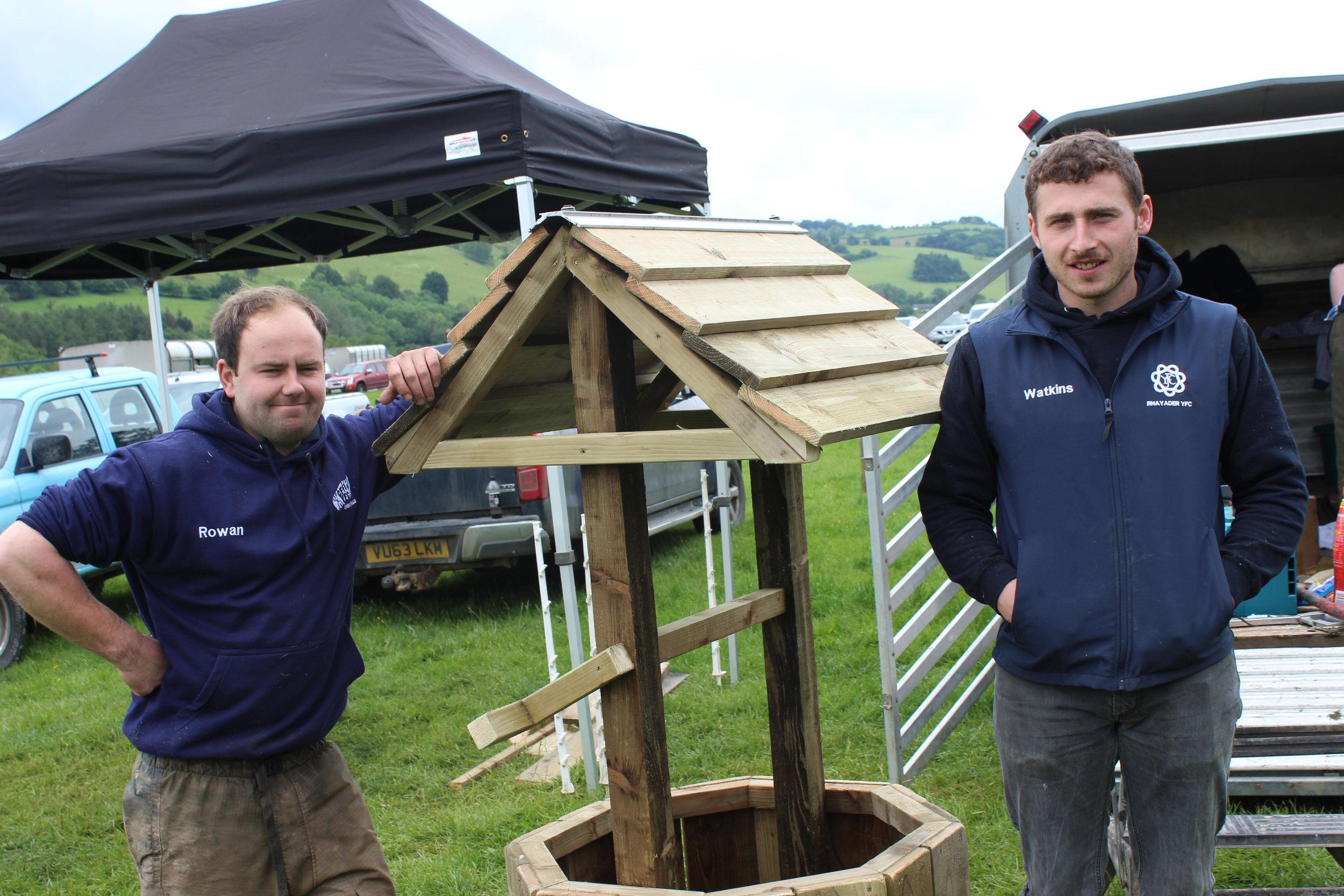Rowan Wilson & Alwyn Watkins, Rhayader YFC in the Woodwork competition.