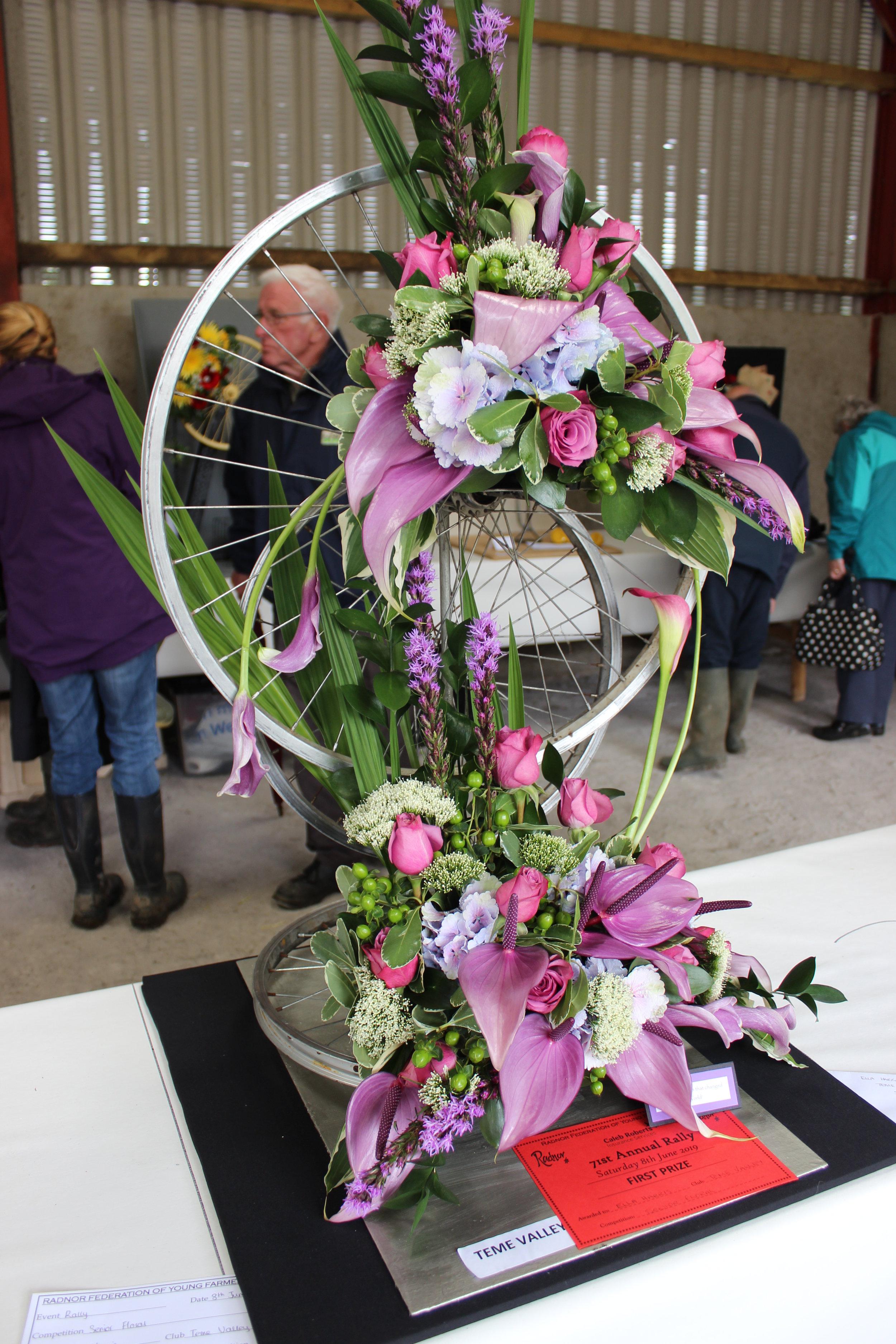Ella Harris, Teme Valley YFC's winning Senior Floral entry.