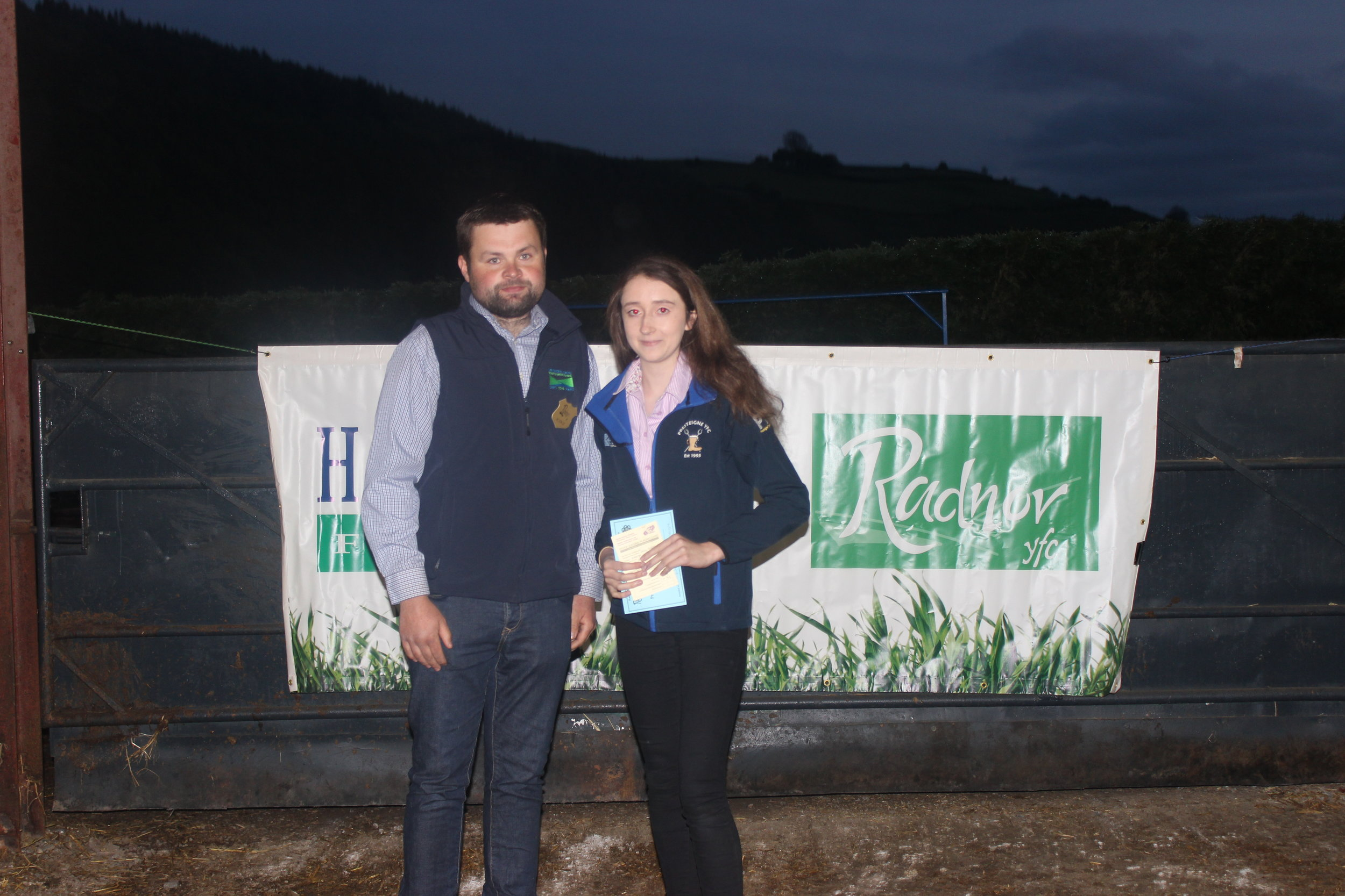 Sally Griffiths, Presteigne YFC - 2nd place in the under 16 Welsh Mule Stokcjudging with Judge John Roberts.