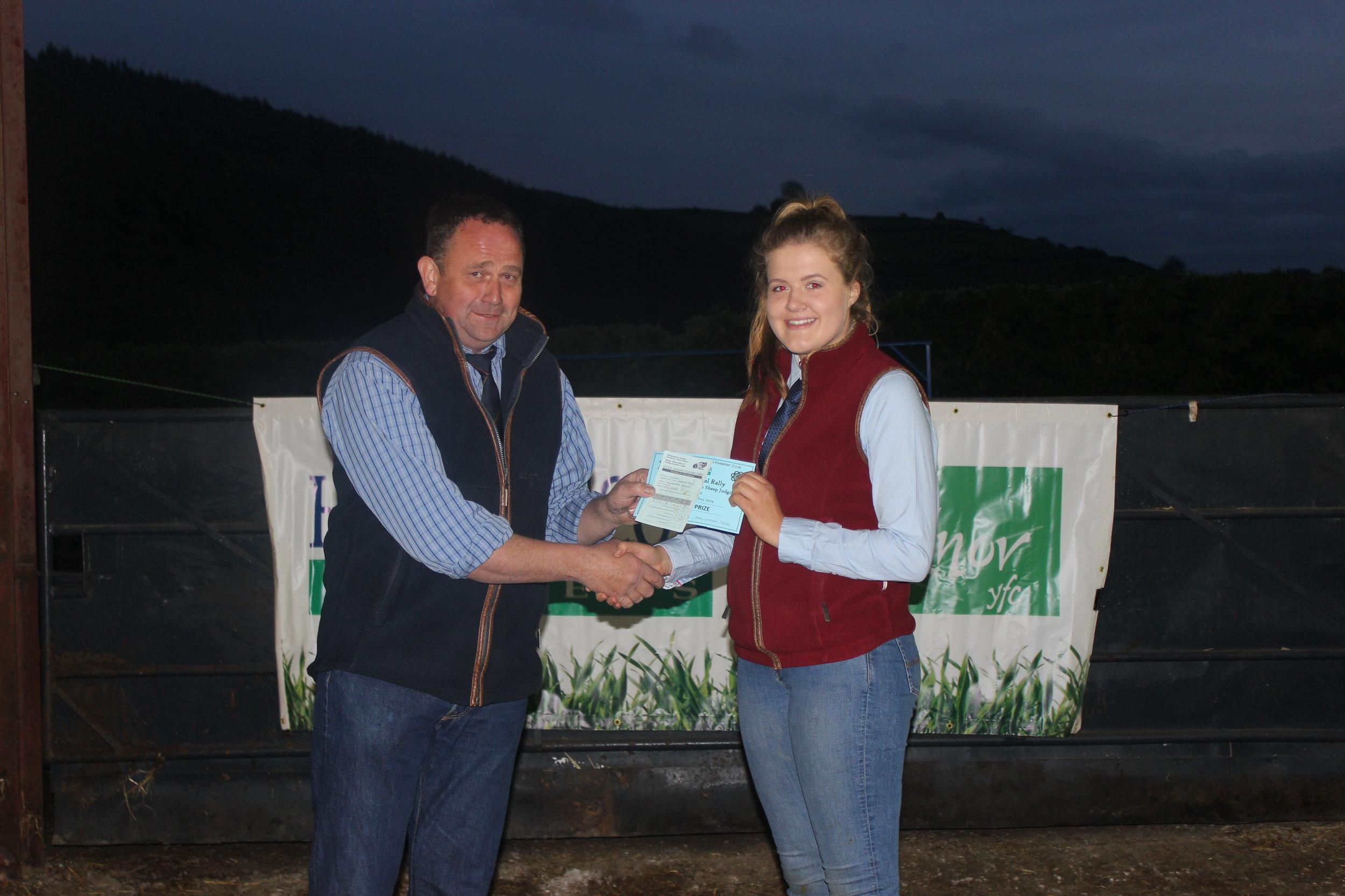 Gemma Price, Llanbadarn Fynydd YFC - 2nd place in the Welsh Mule Stockjudging with Judge Geoff Probert.