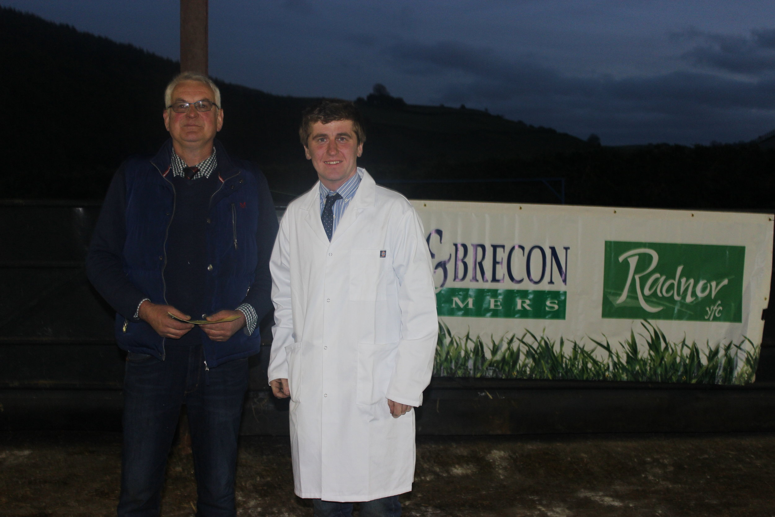 Tom Harris, Teme Valley YFC - 3rd place in the Under 26 Welsh Mule Stockjudging with Judge Morton Powell.
