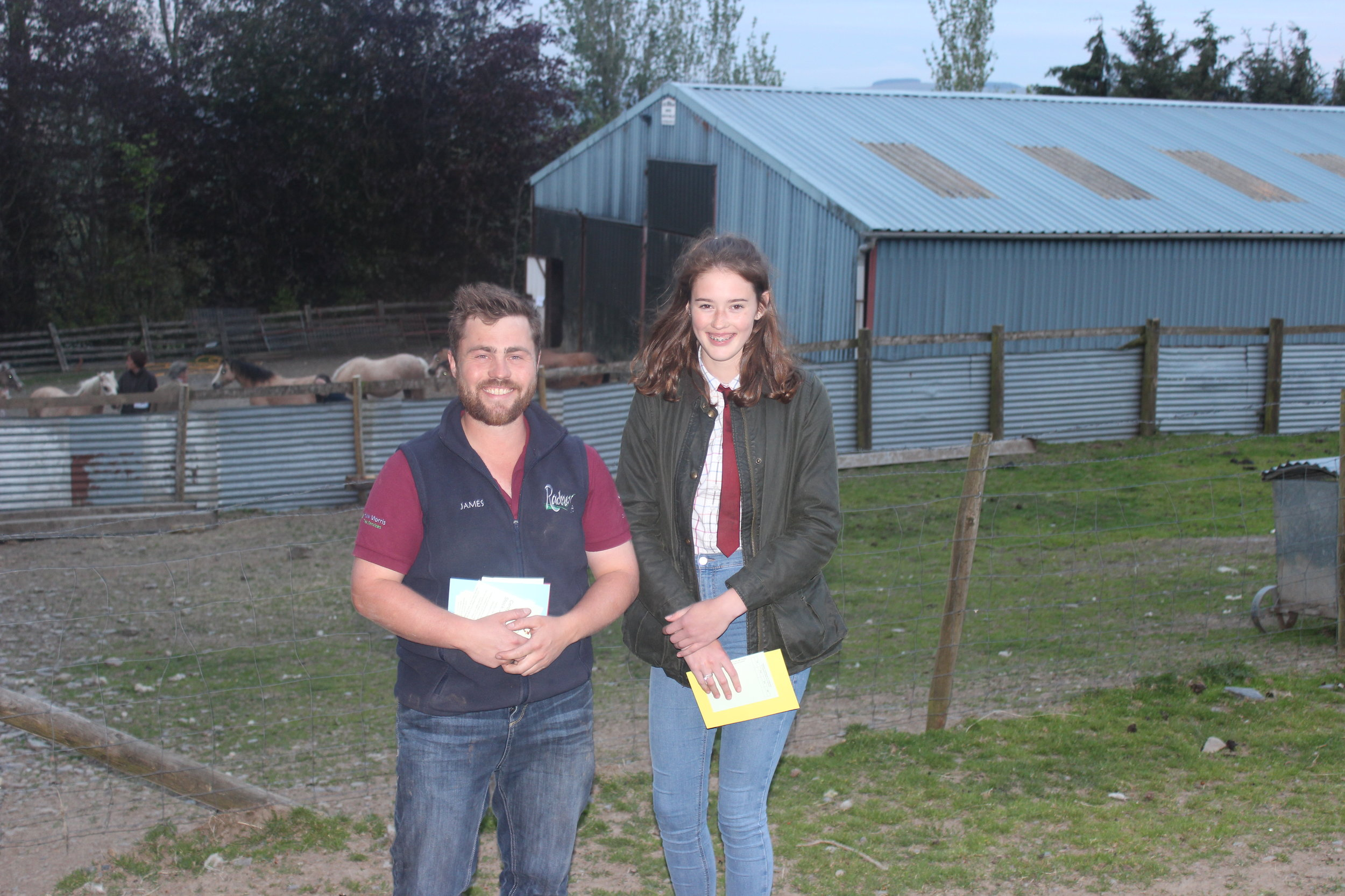 Frankie Jones, Radnor Valley YFC - 3rd place in the Under 16 Section A Stockjudging with County Chairman James Poulton.