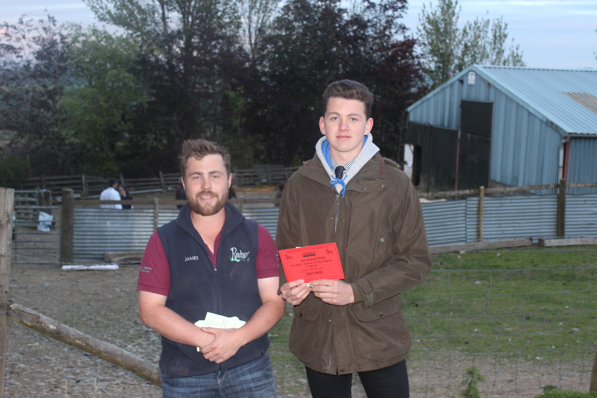 Josh Deakins, Teme Valley YFC - 1st place in the Under 16 Section A Stockjudging with County Chairman James Poulton.