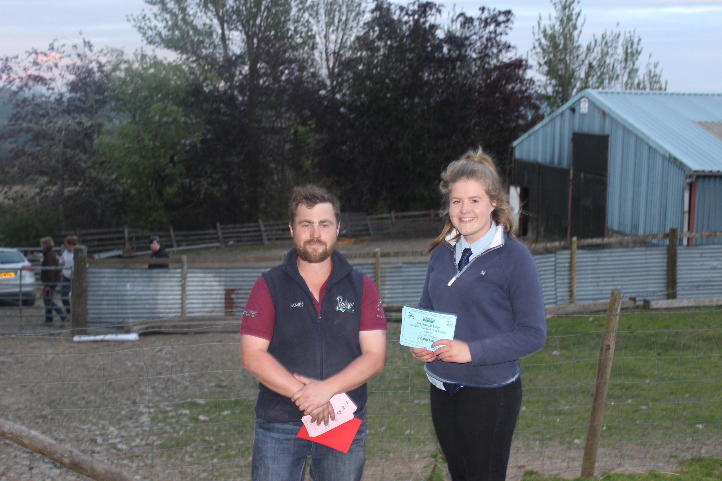 Gemma Price, Llanbadarn Fynydd YFC - 2nd place in the Under 18 Section A Stockjudging with County Chairman James Poulton.