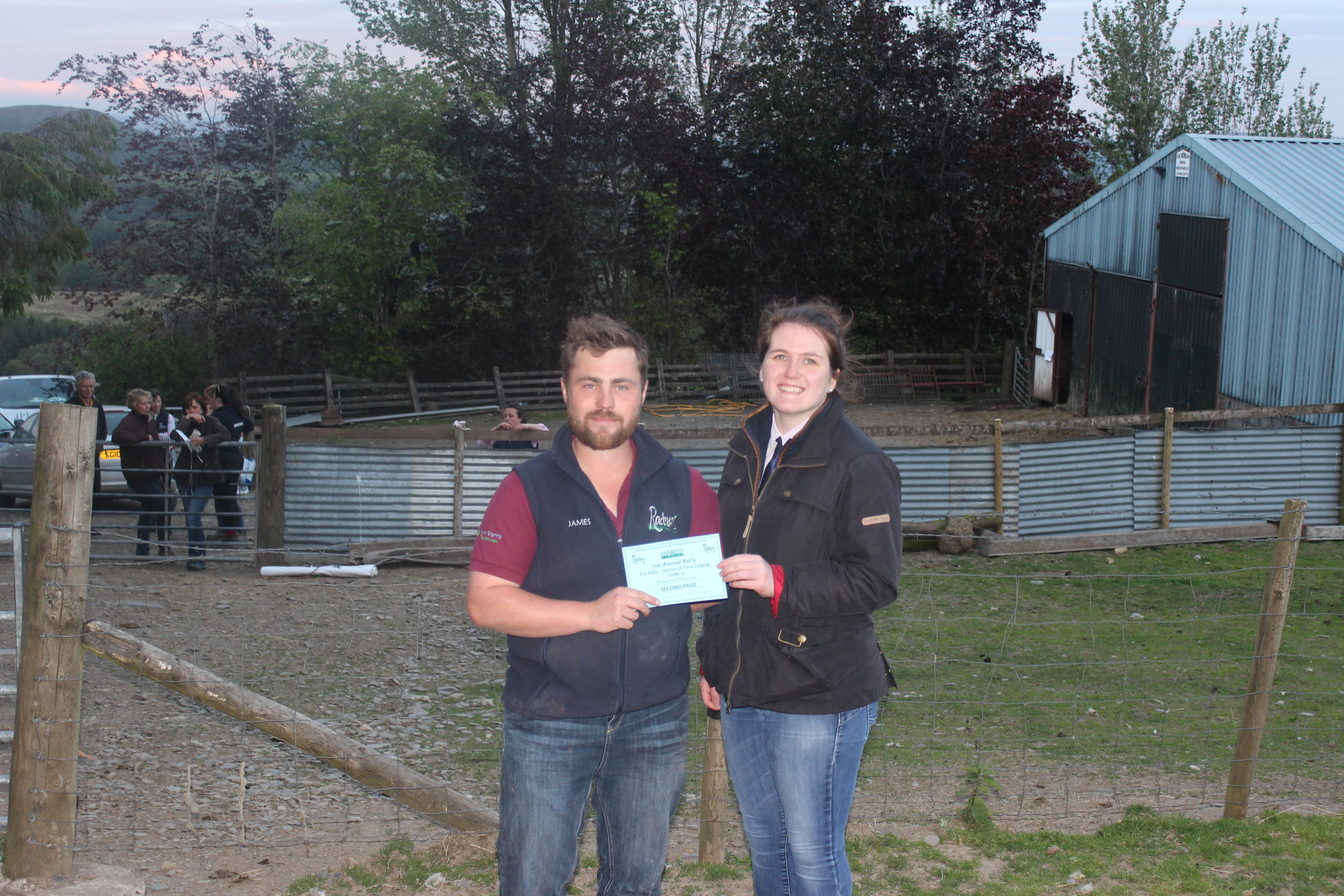 Ella Harris, Teme Valley YFC - 2nd place in the Under 21 Section A Stockjudging with County Chairman James Poulton.
