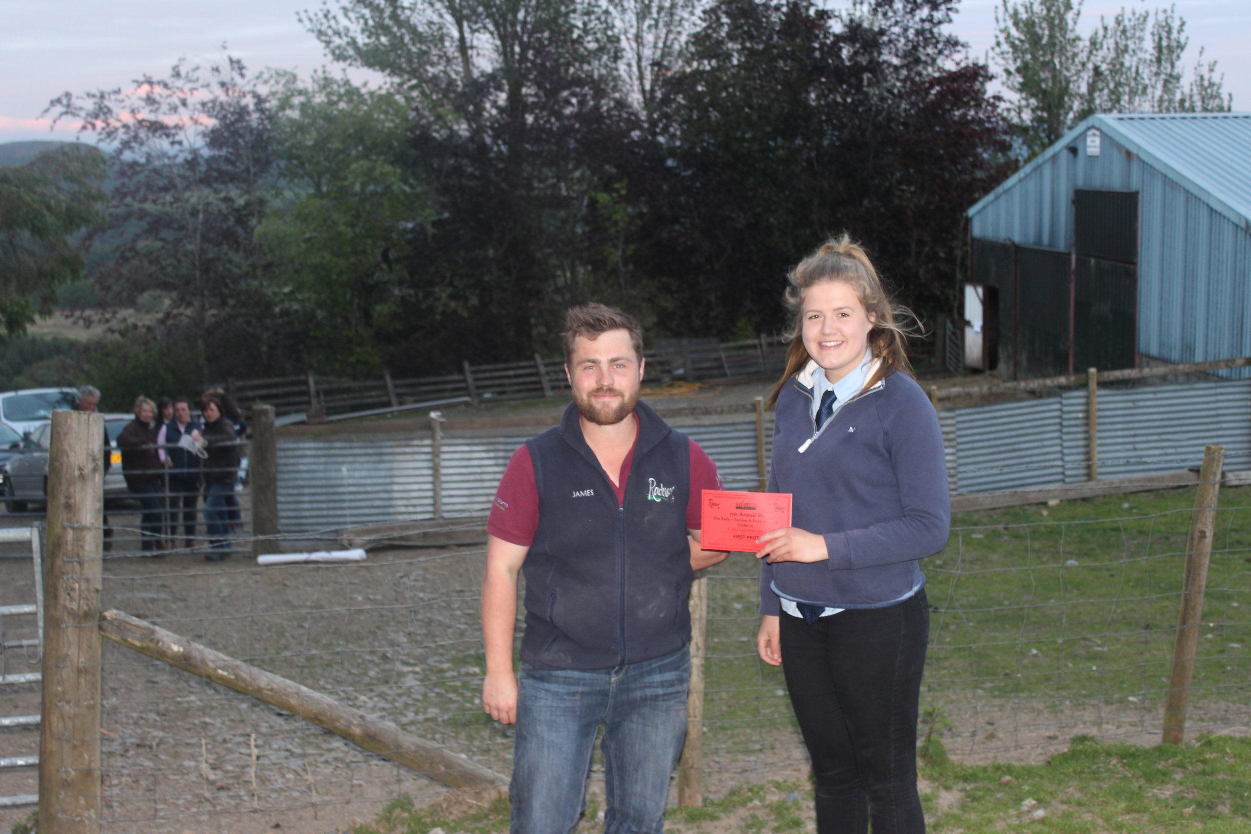 Gemma Price, Llanbadarn Fynydd YFC - 1st place in the Under 21 Section A Stockjudging with County Chairman James Poulton.