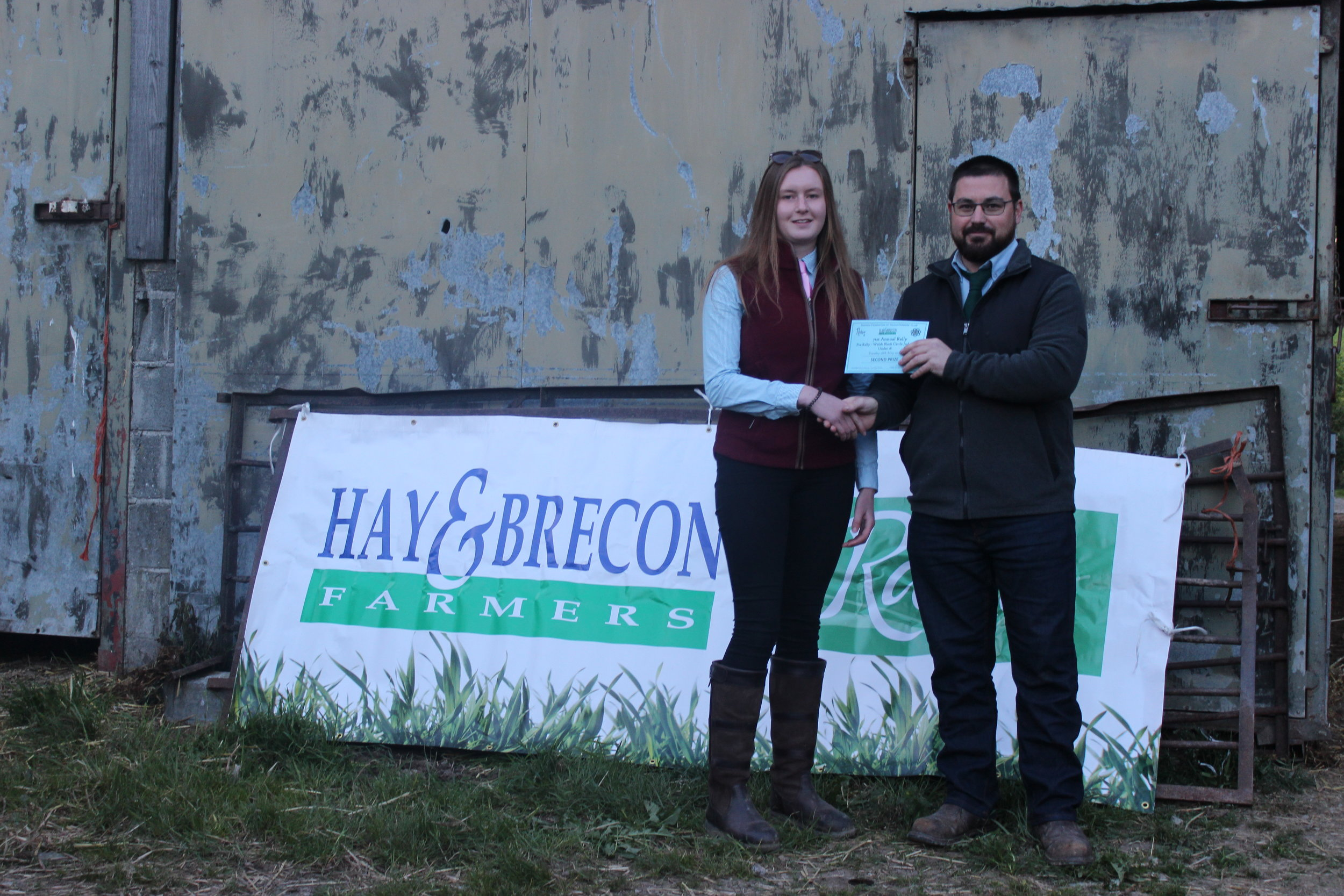 Lucy Griffiths, Presteigne YFC - 2nd place in the Under 18 Welsh Black Cattle Stockjudging with Judge