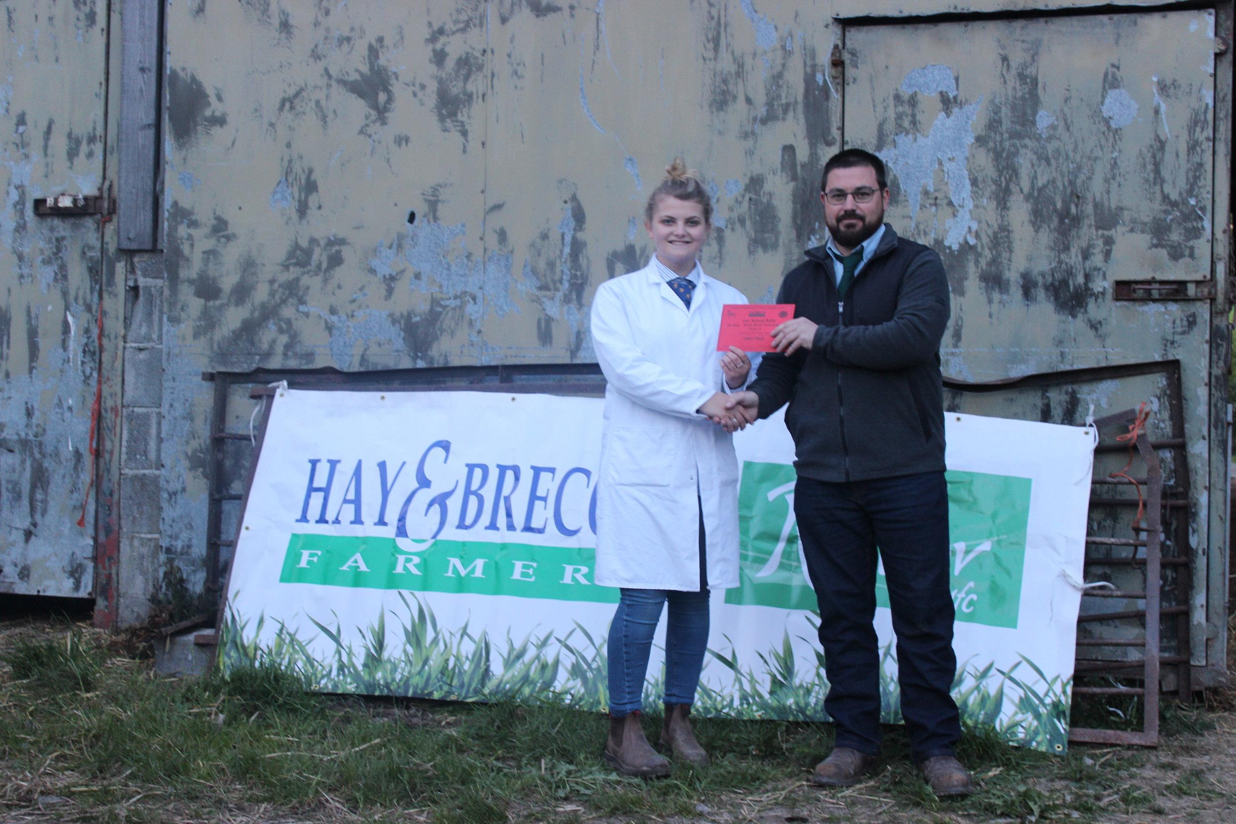 Annie Fairclough, Llanbadarn Fynydd YFC - 1st place in the Under 18 Welsh Black Cattle Stockjudging with Judge