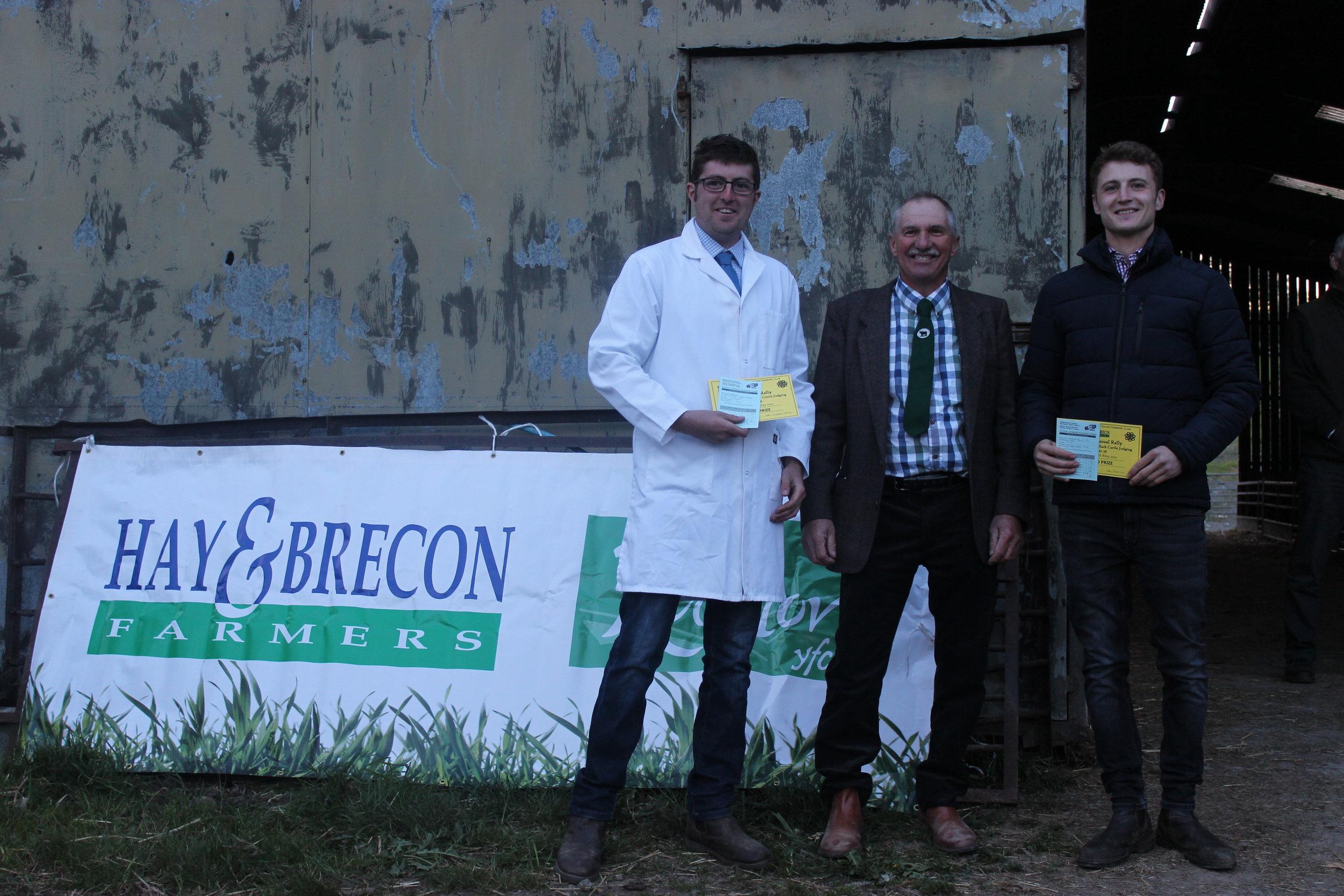 Jamie Price, Presteigne YFC  & Hywel Watson, Llanbadarn Fynydd YFC - joint 3rd in the Under 26 Welsh Black Cattle Stockjudging with Judge