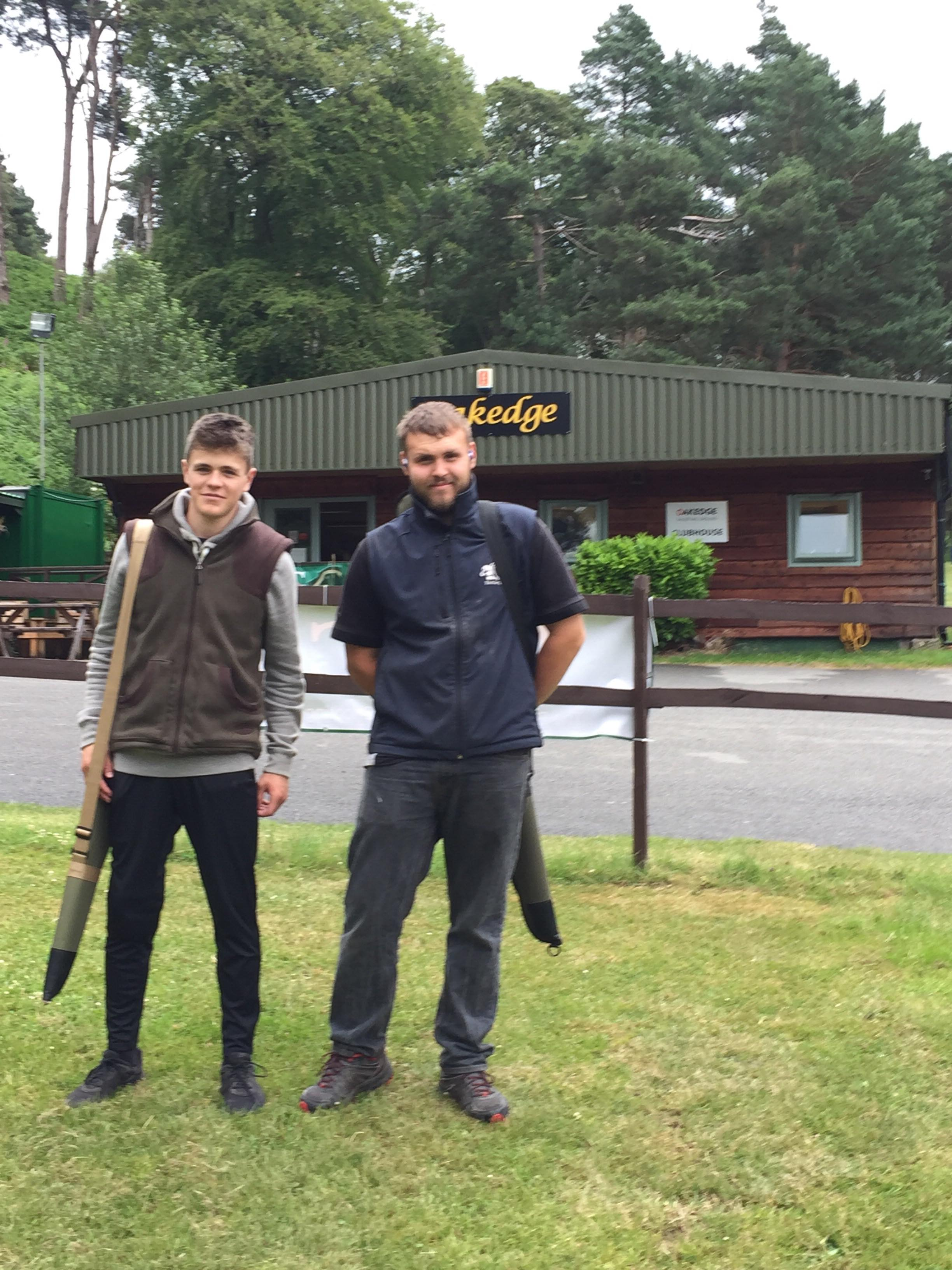 Jack Nixon & Dafydd Buncombe, Dolau YFC in the Clay Pigeon Shooting competitions.