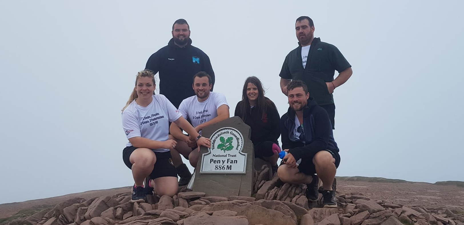 Federation Officials at the top of Pen Y Fan with Wales YFC Chairman Daf Jones.
