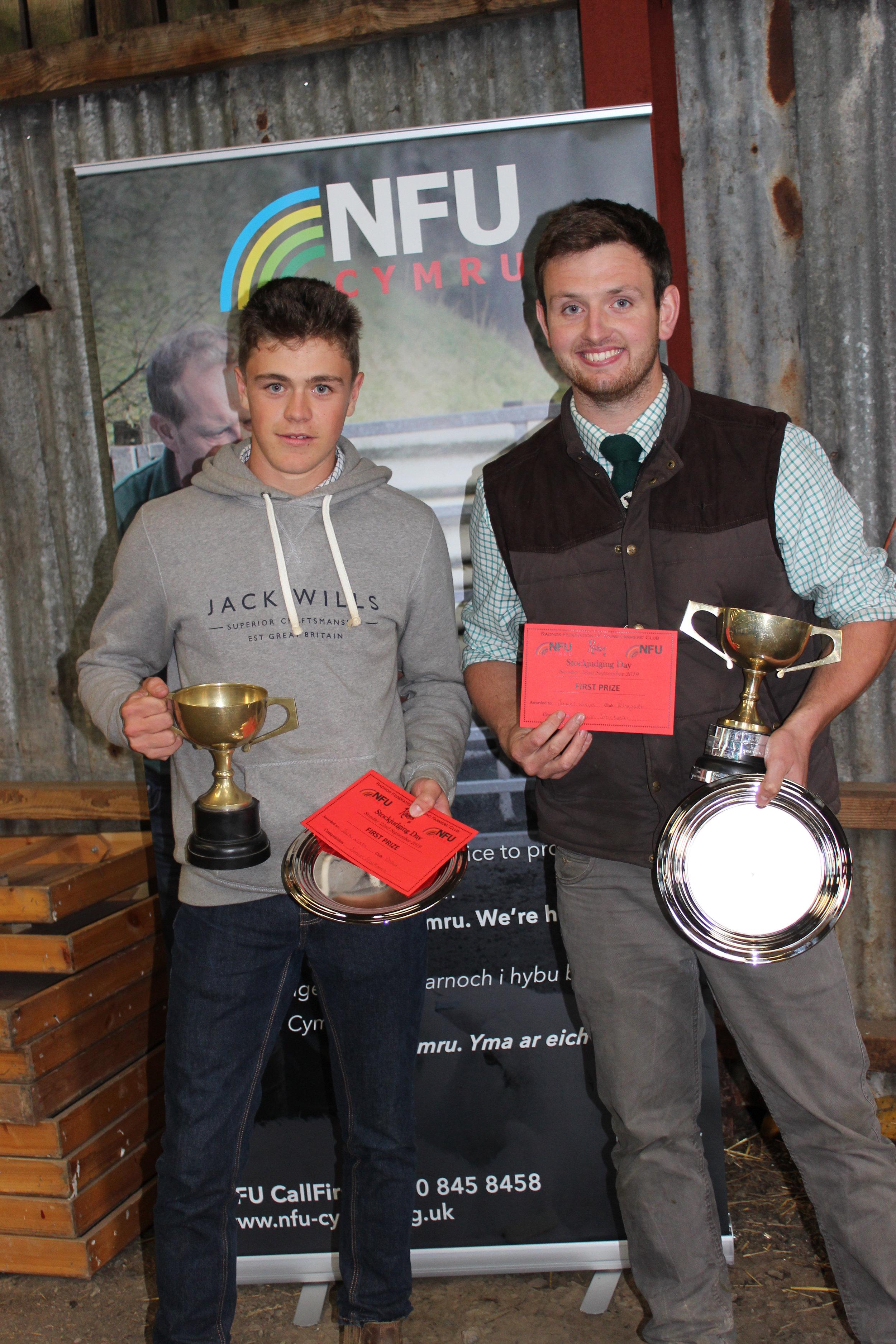 Jack Nixon, Dolau YFC - Junior Stockman of the Year & James Nixon, Rhayader YFC - Senior Stockman of the Year.