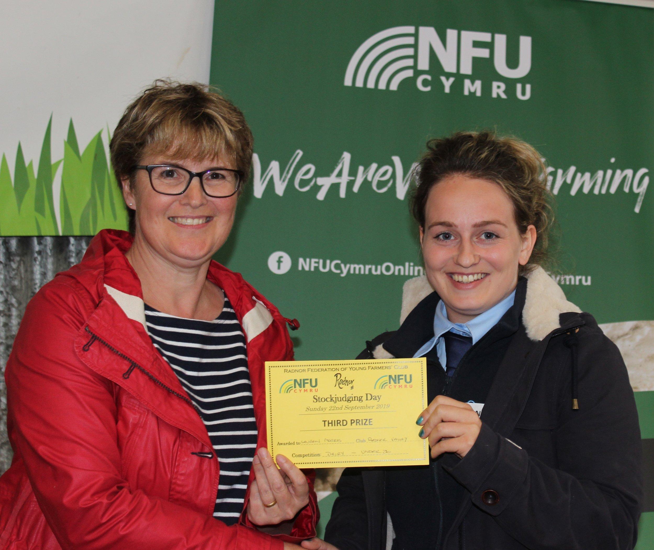 Lauren Morris, Rhayader YFC - 3rd place in the Senior Dairy with Amanda Watson.