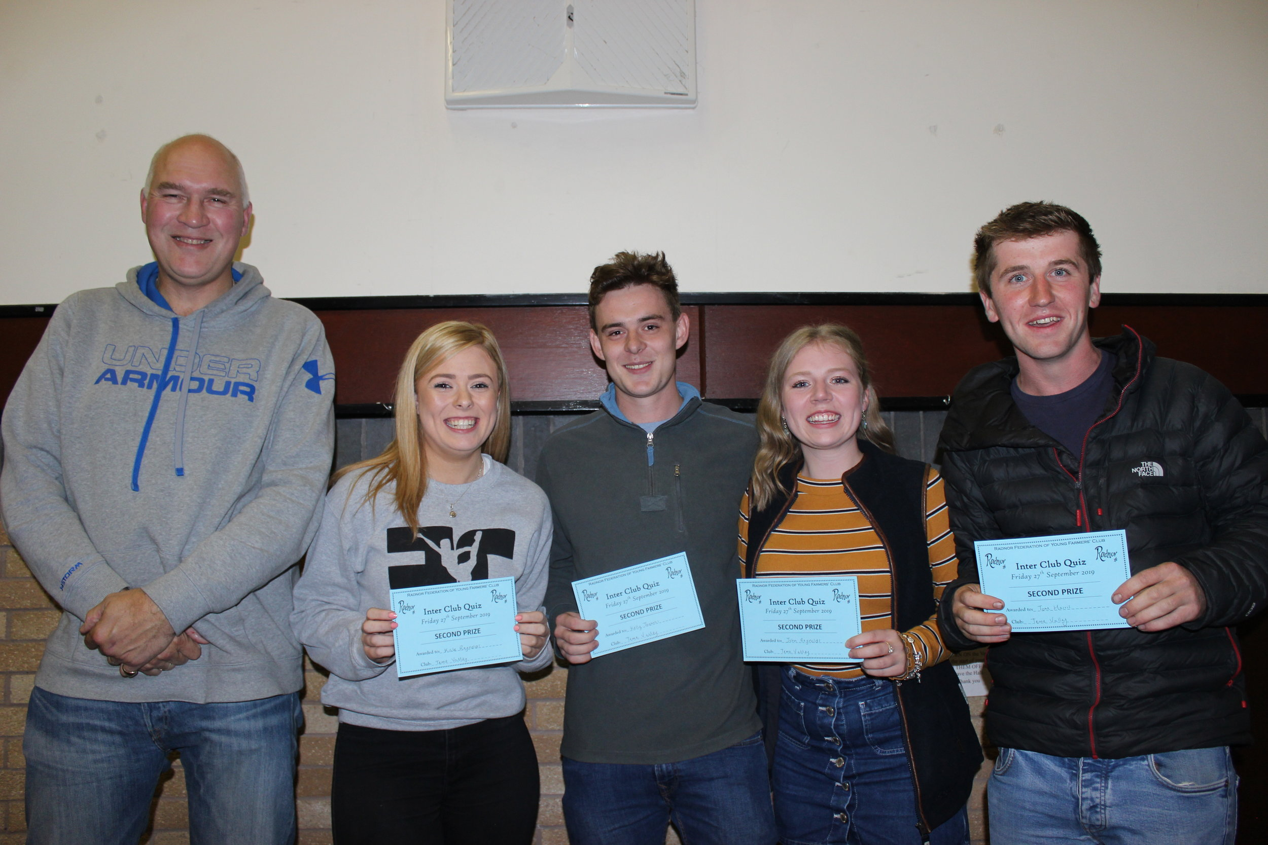 2nd Place - Teme Valley YFC (Kate Reynolds, John Reynolds, Kelly Thomas & Tom Harris) with Quiz Master, Stuart Eckley.