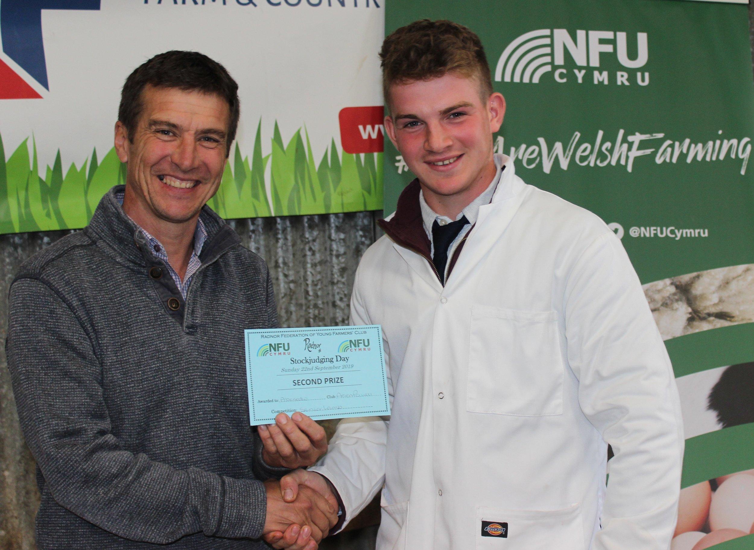 Aeron Powell, Aberedw YFC - joint 2nd place int he Senior Lamb with Mark Watson.