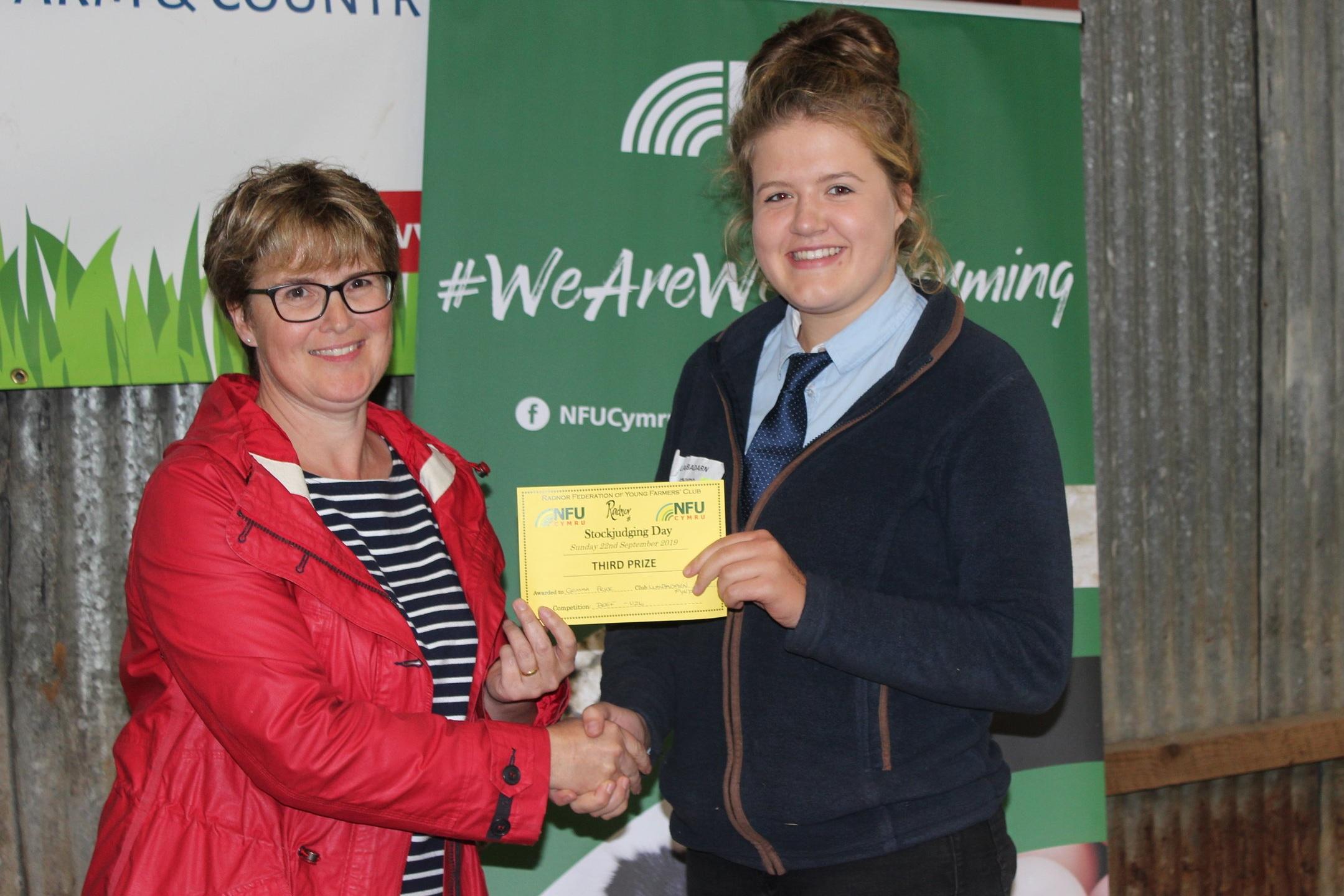 Gemma Price, Llanbadarn Fynydd YFC - joint 3rd place in the Senior Beef with Amanda Watson.