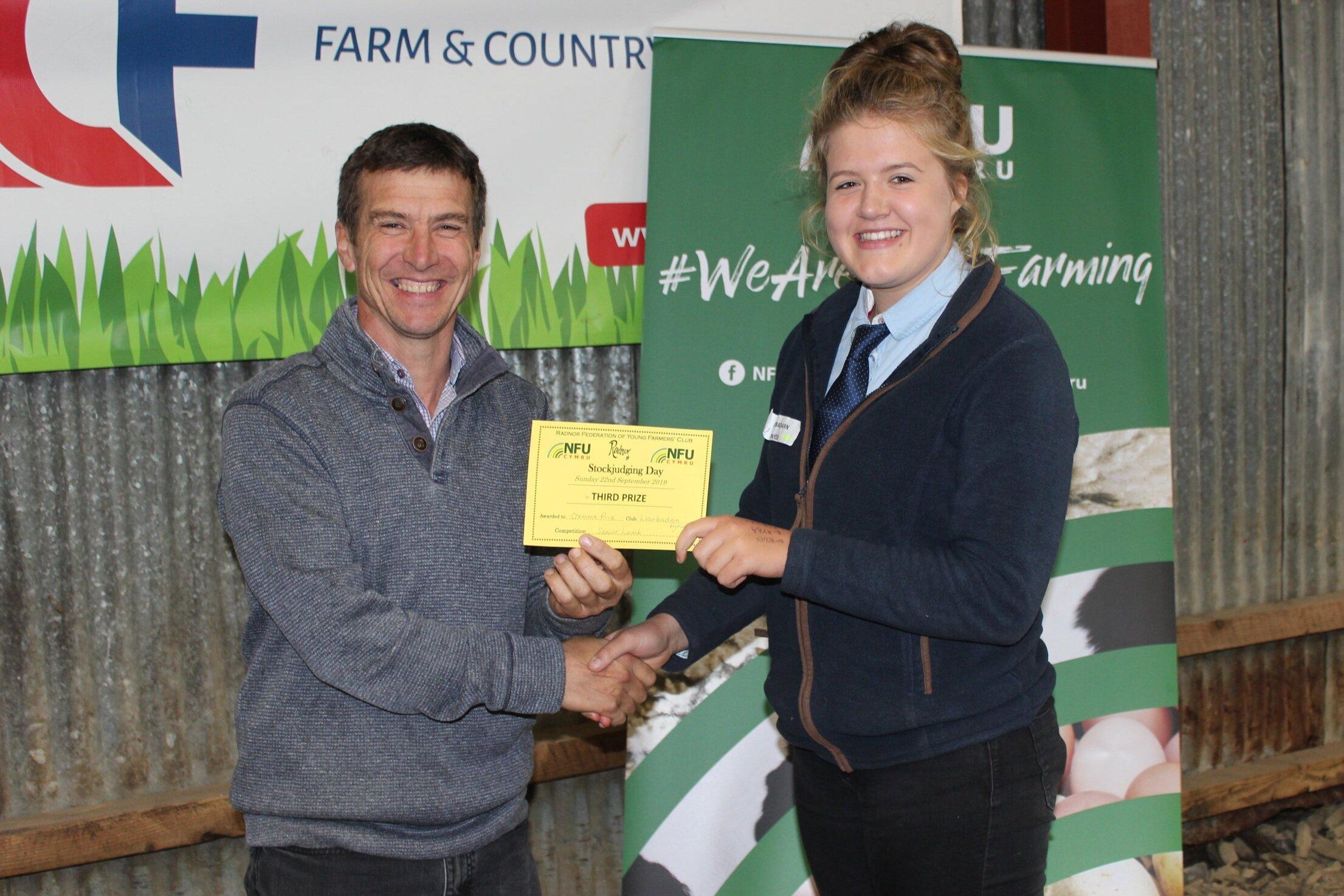 Gemma Price, Llanbadarn Fynydd YFC - joint 3rd in the Senior Lamb with Mark Watson.