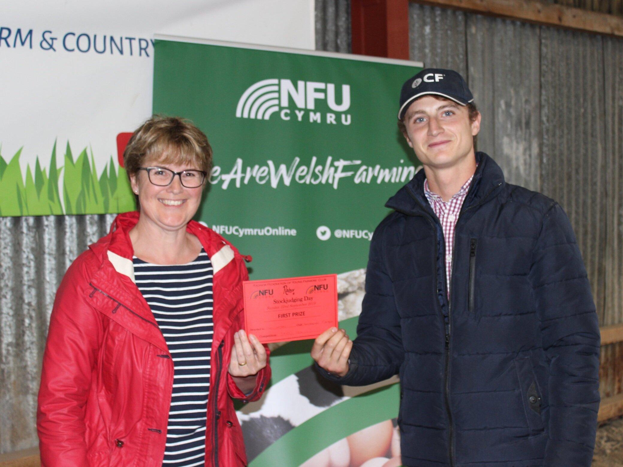 Hywel Watson, Llanbadarn Fynydd YFC - 1st place in the Senior Dairy with Amanda Watson.