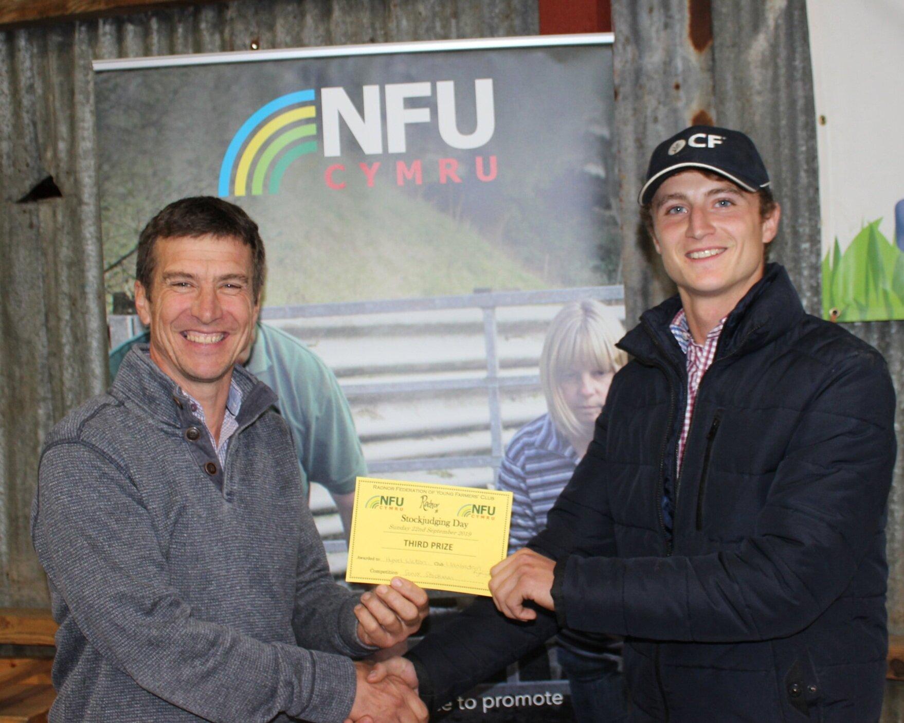 Hywel Watson, Llanbadarn Fynydd YFC - 3rd in the Senior Stockman of the Year with host Mark Watson.