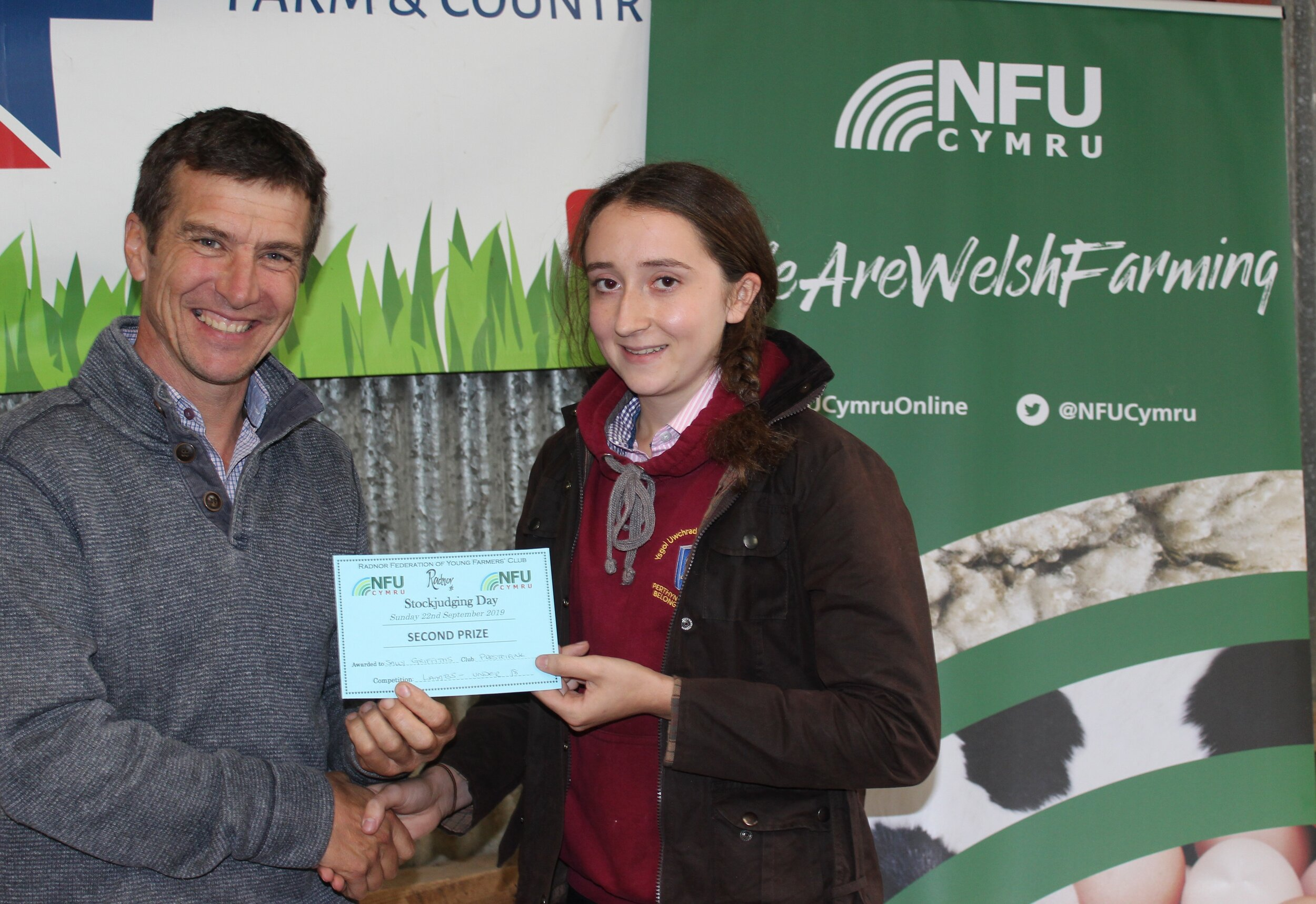 Sally Griffiths, Presteigne YFC - 2nd place in the Junior Lamb with Mark Watson.