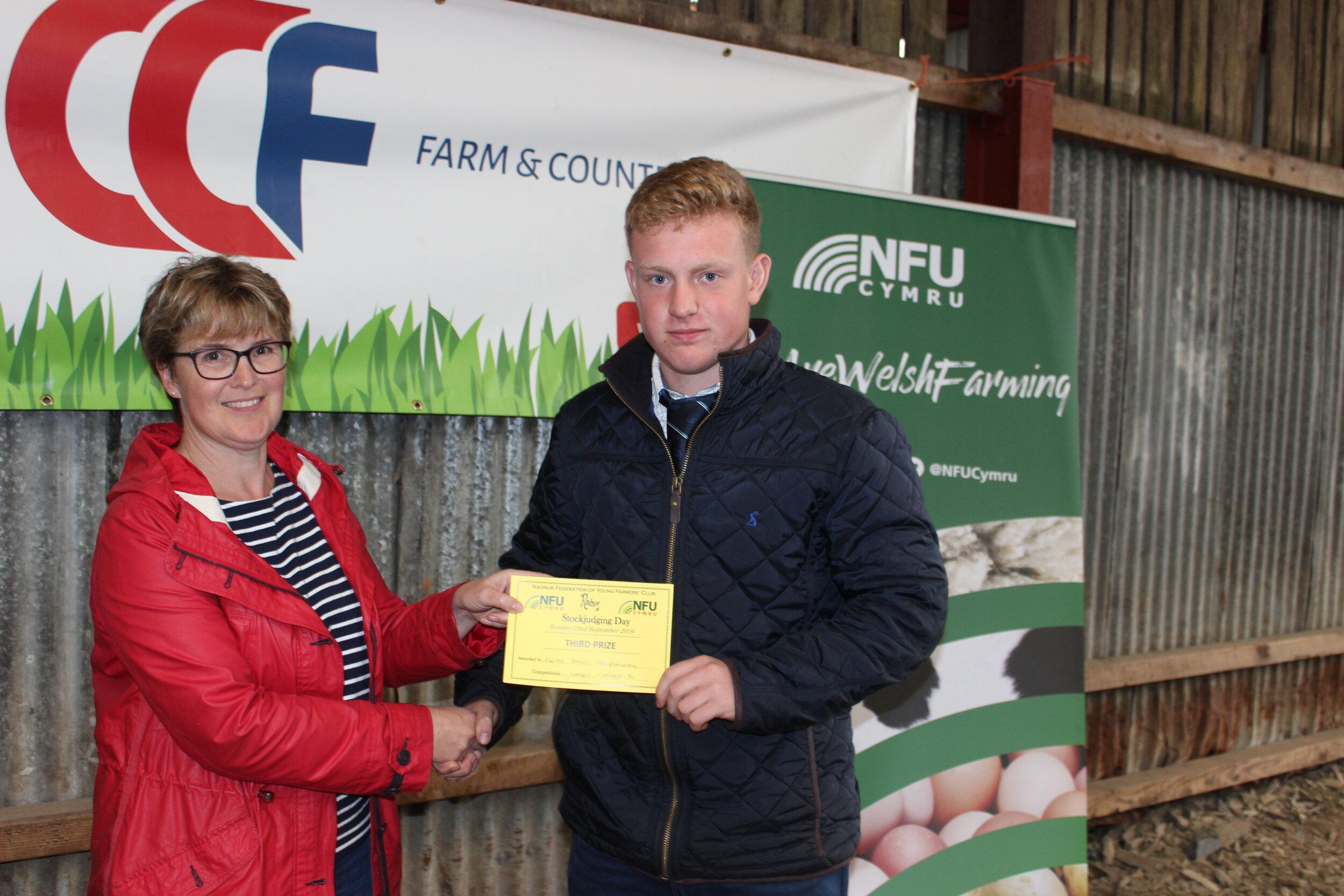 Elgan Davies, Rhayader YFC - joint 3rd in the Junior Lamb with Amanda Watson.