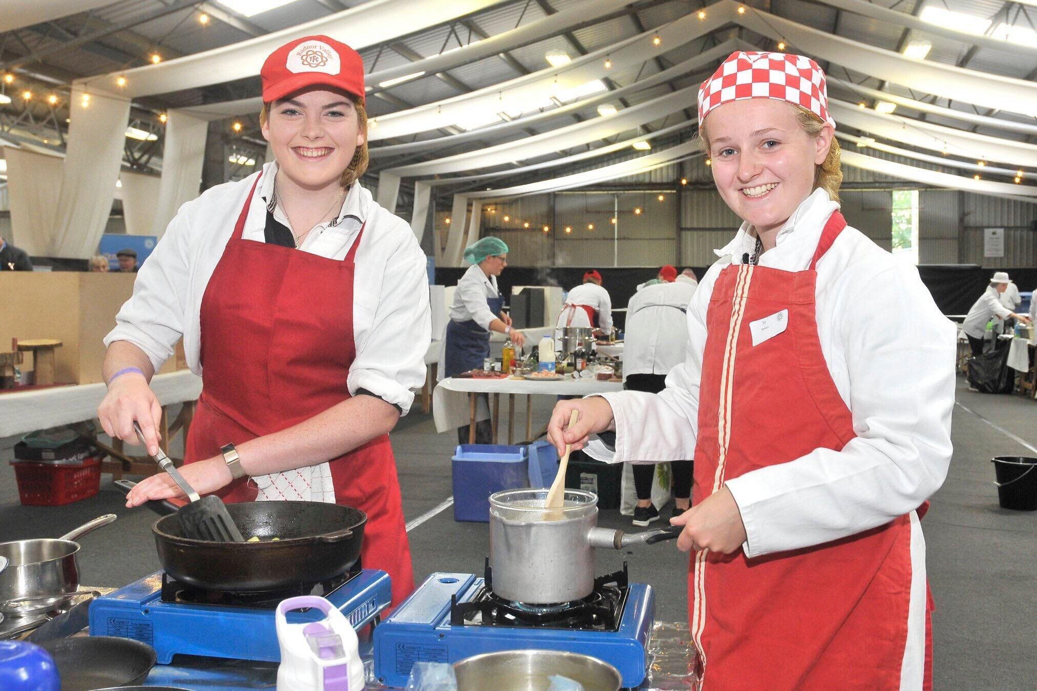 Louise Price & Gemma Morris, Radnor Valley YFC in the Cookery competition.