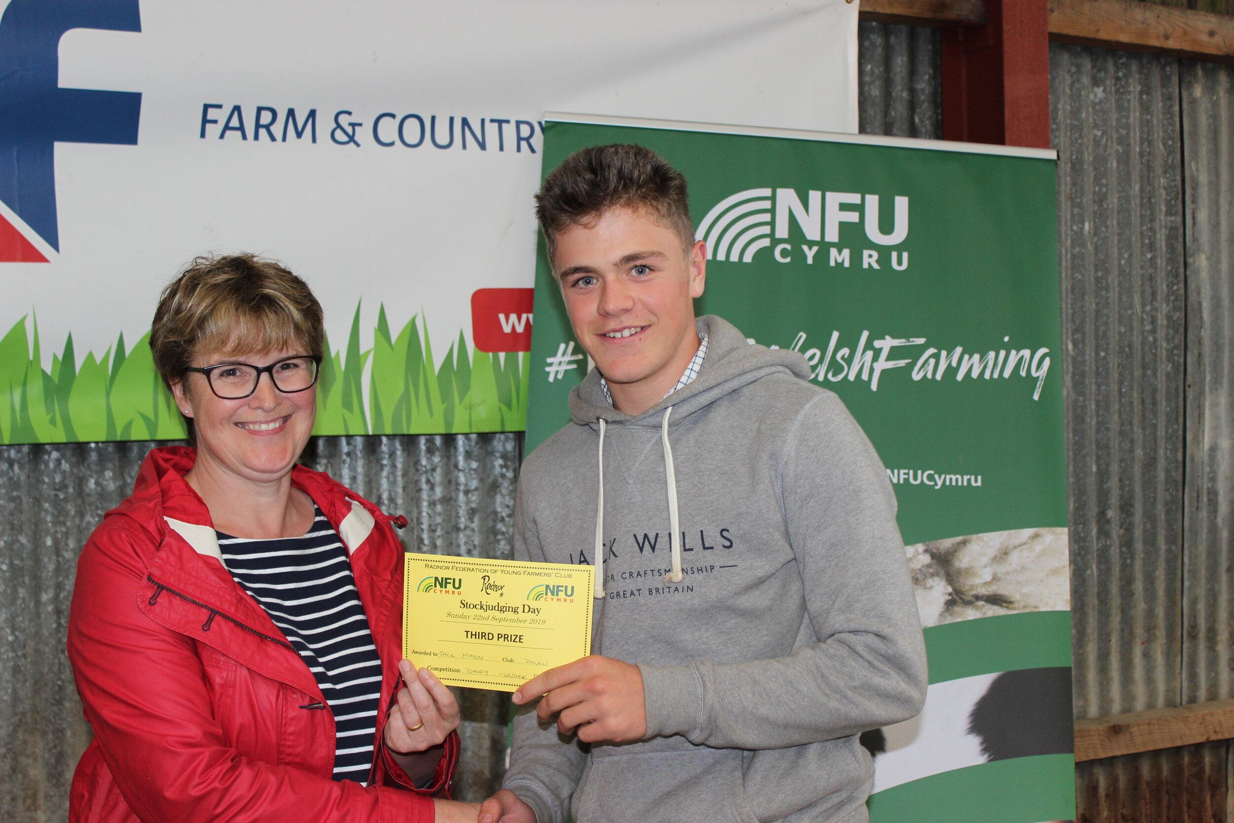 Jack Nixon, Dolau YFC - 3rd place in the Junior Dairy with Amanda Watson.