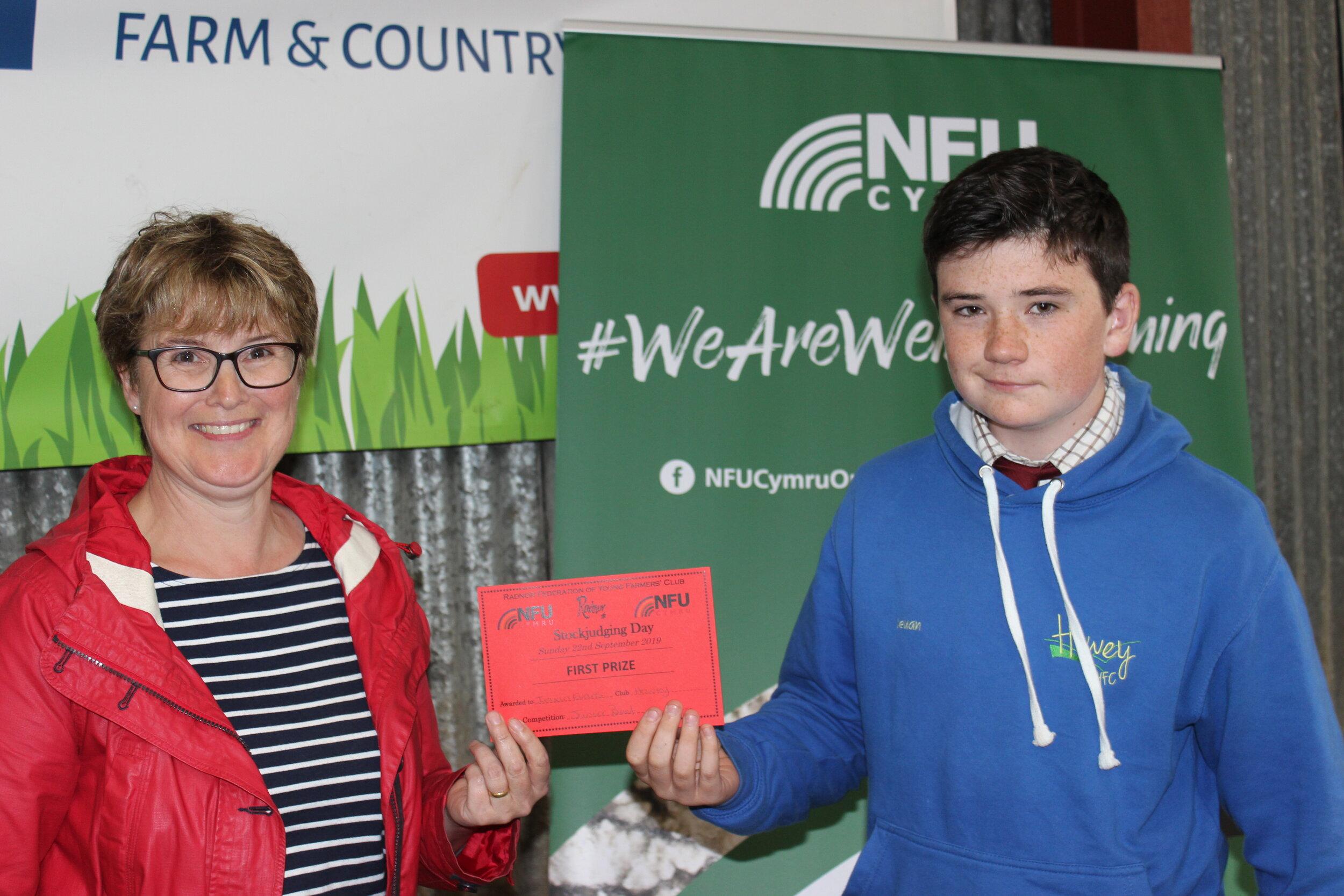 Ieuan Evans, Howey YFC - 1st place in the Junior Dairy with Amanda Watson.
