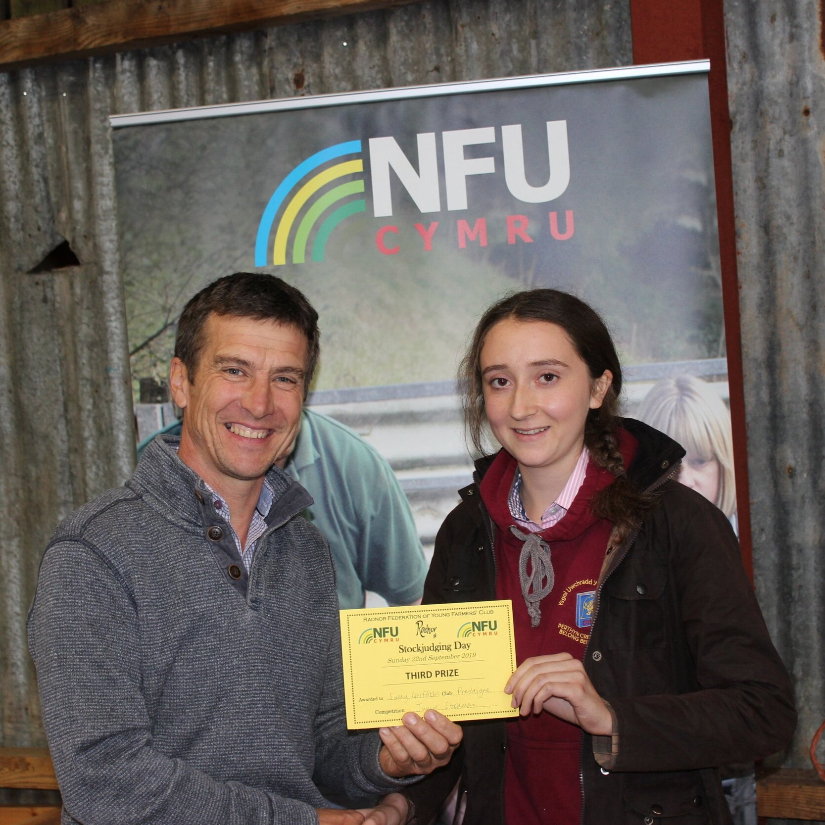 Sally Griffiths, Presteigne YFC - 3rd in the Junior Stockman of the Year with Mark Watson.