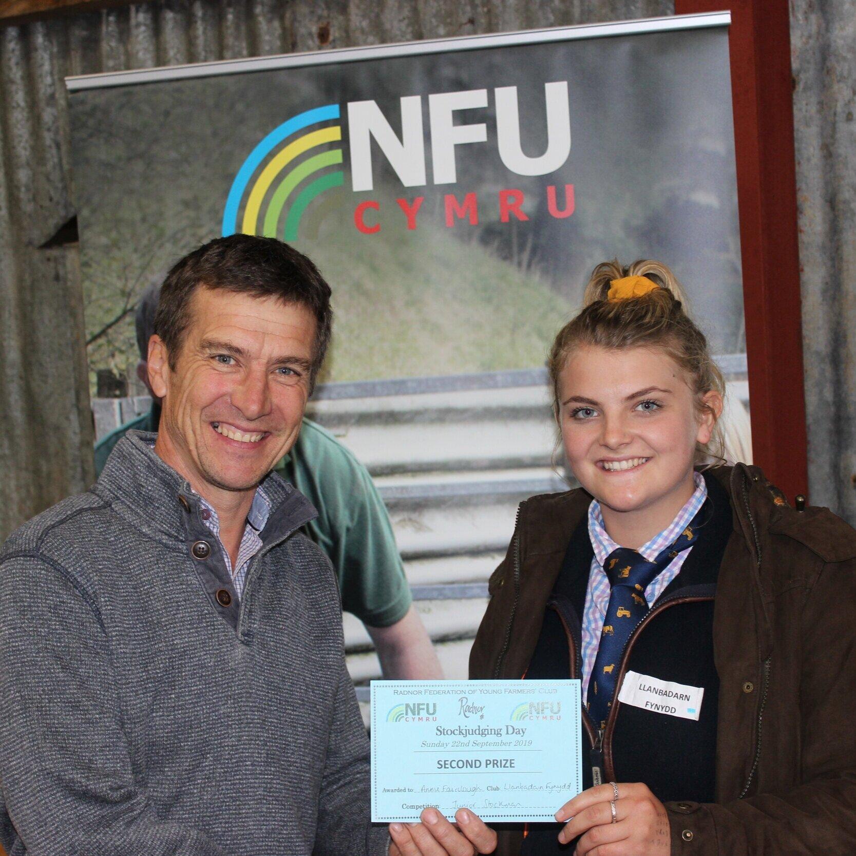 Annie Fairlcough, Llanbadarn Fynydd YFC - 2nd in the Junior Stockman of the Year with Mark Watson.