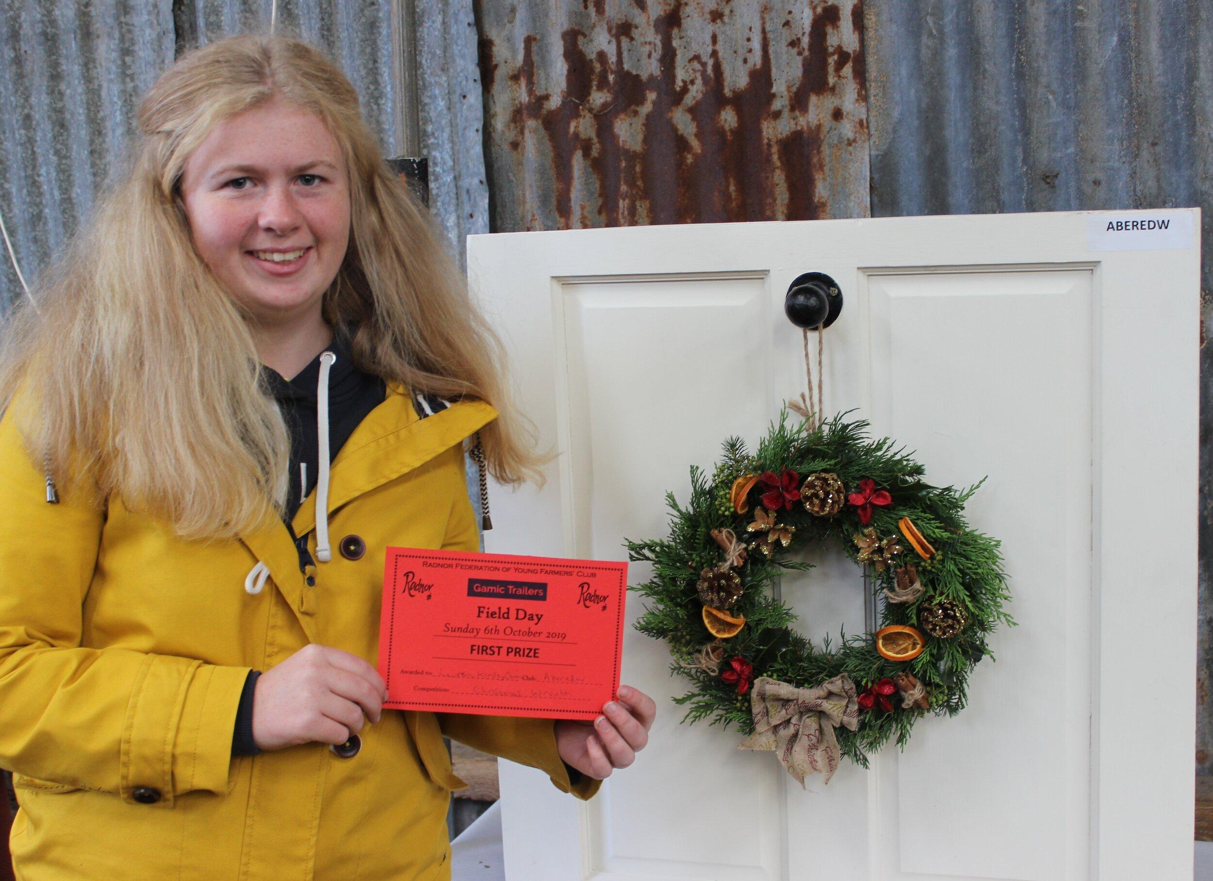 Lauren Kinsey Owen, Aberedw YFC with her 1st place Christmas Wreath.