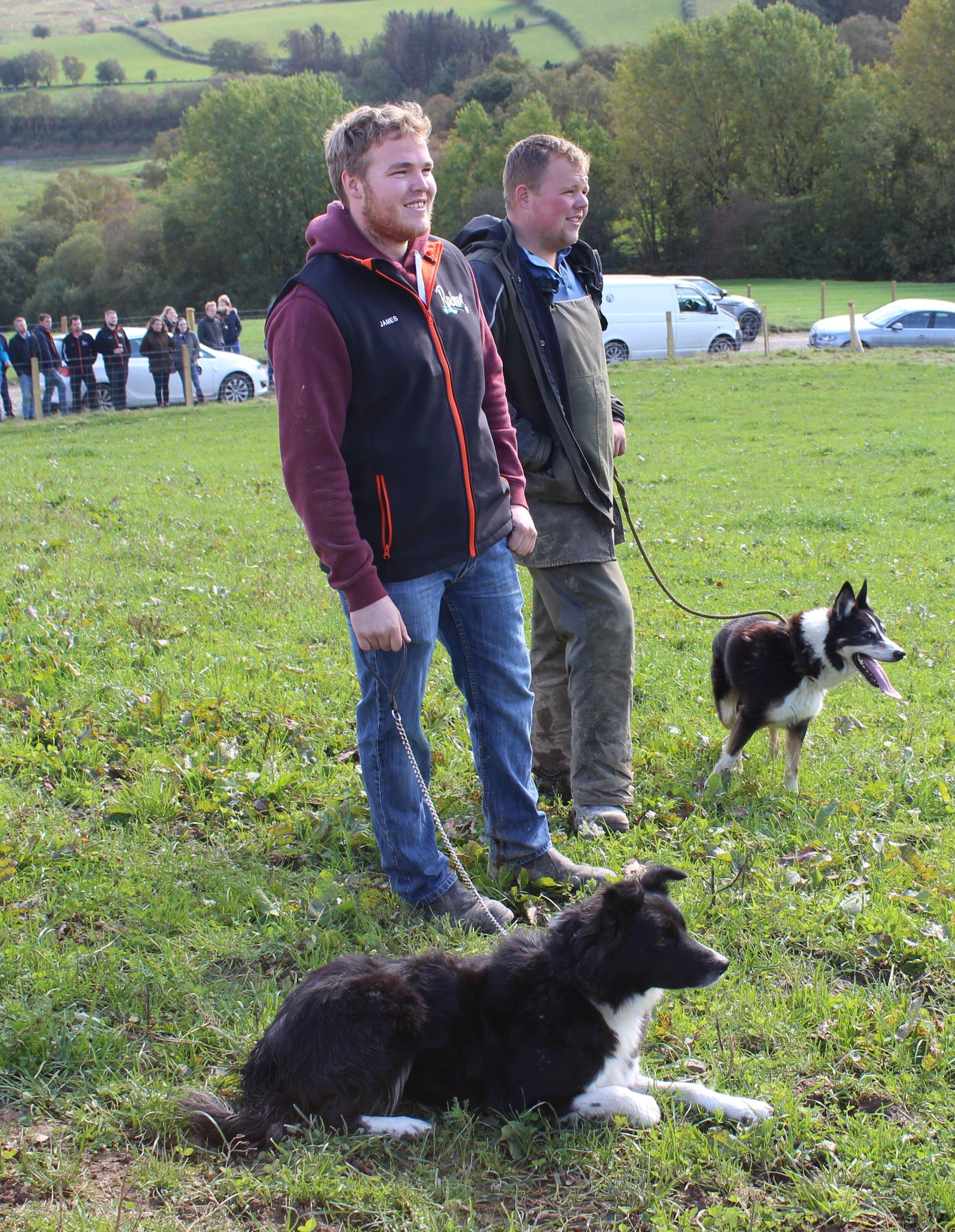 James Griffiths, Penybont YFC & Sam Bowen, Radnor Valley YFC in the Sheepdog Trials.