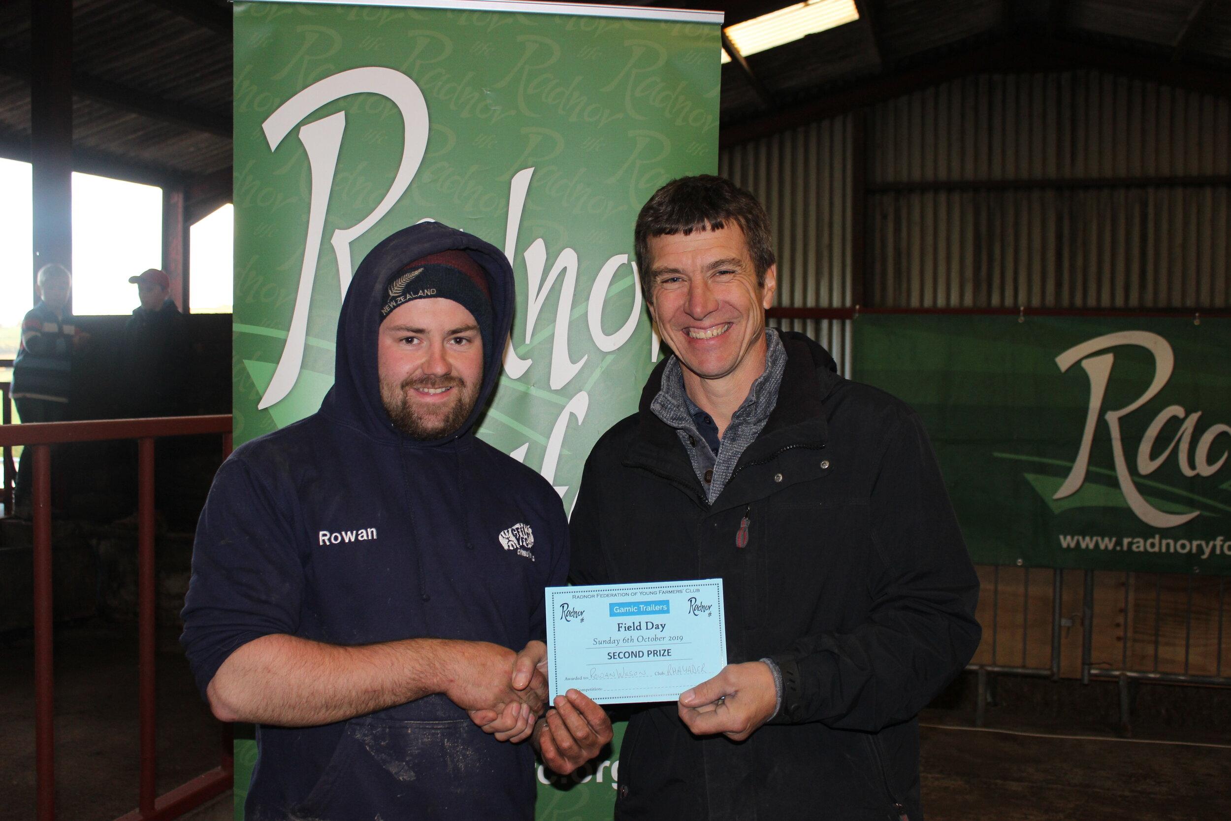 Rowan Wilson, Rhayader YFC - 2nd place in the Lamb Trimming with Mark Watson