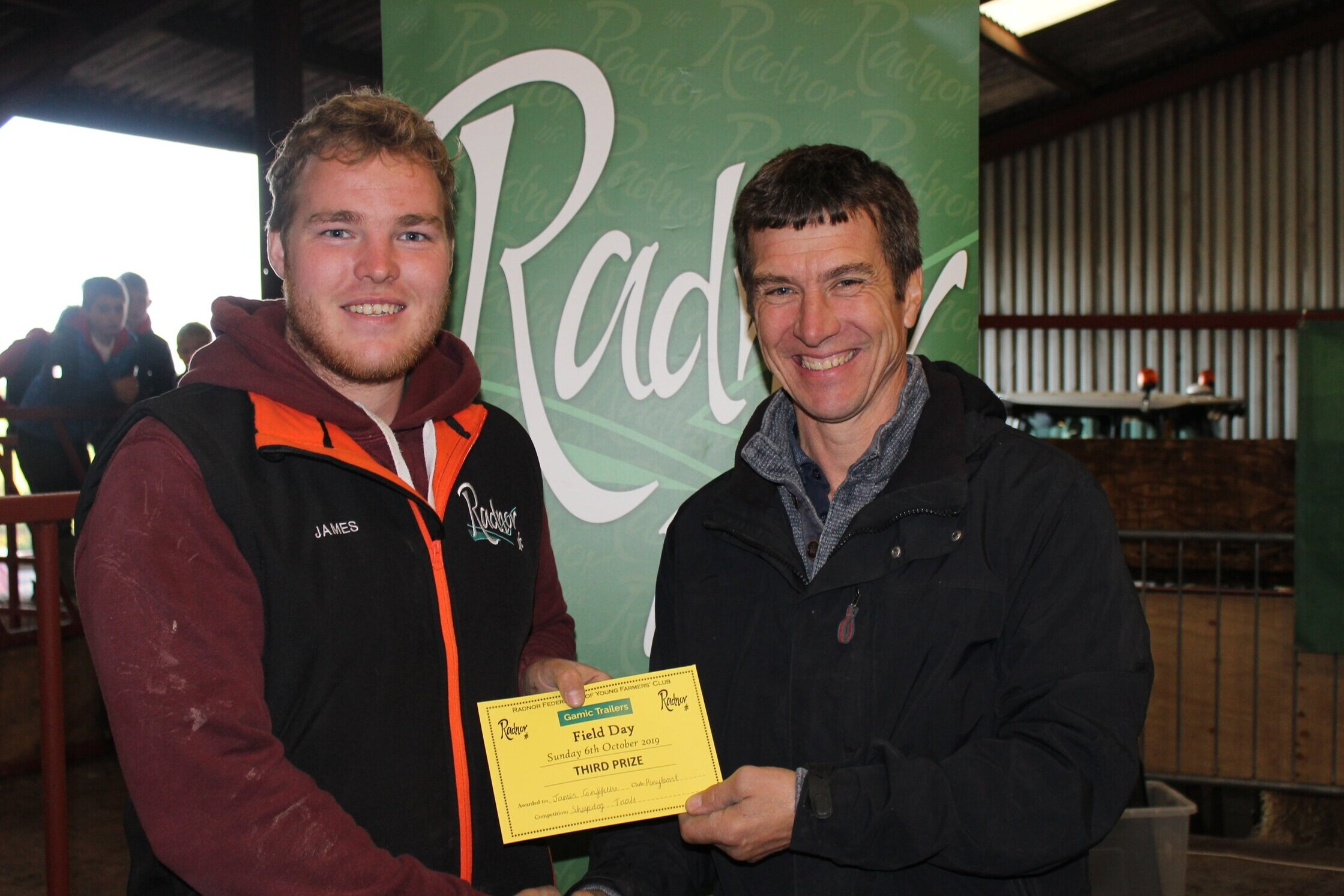 James Griffiths, Penybont YFC - 3rd in the Sheepdog Trials with Mark Watson