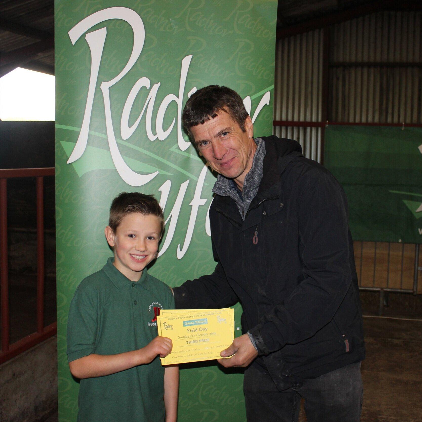 Harrison Powell, Llanbadarn Fynydd YFC - 3rd place in the Junior Fferm Factor with Mark Watson