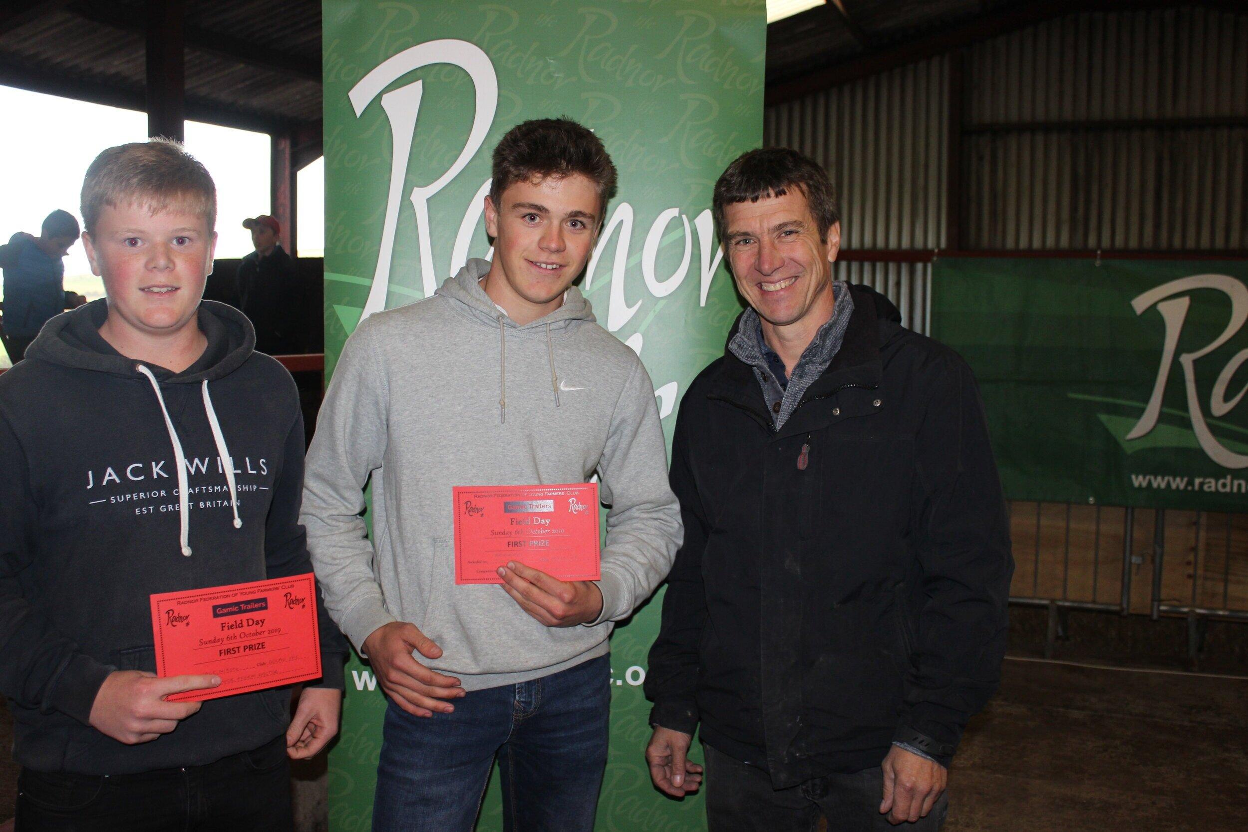 Tom & Jack Nixon, Dolau YFC - 1st place in the Junior Fferm Factor with Mark Watson
