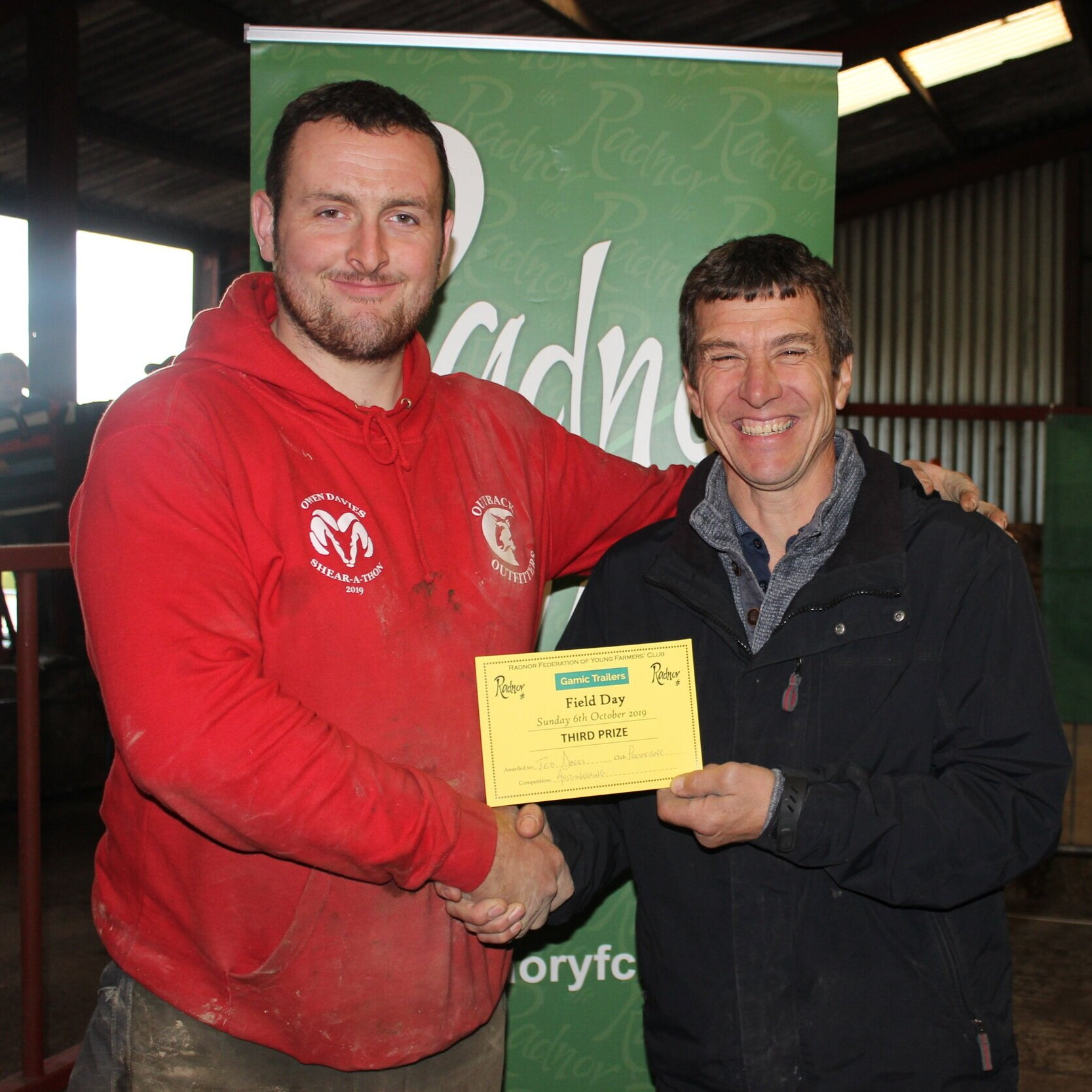 Ted Davies, Presteigne YFC - 3rd place in the Auctioneering competition with Mark Watson