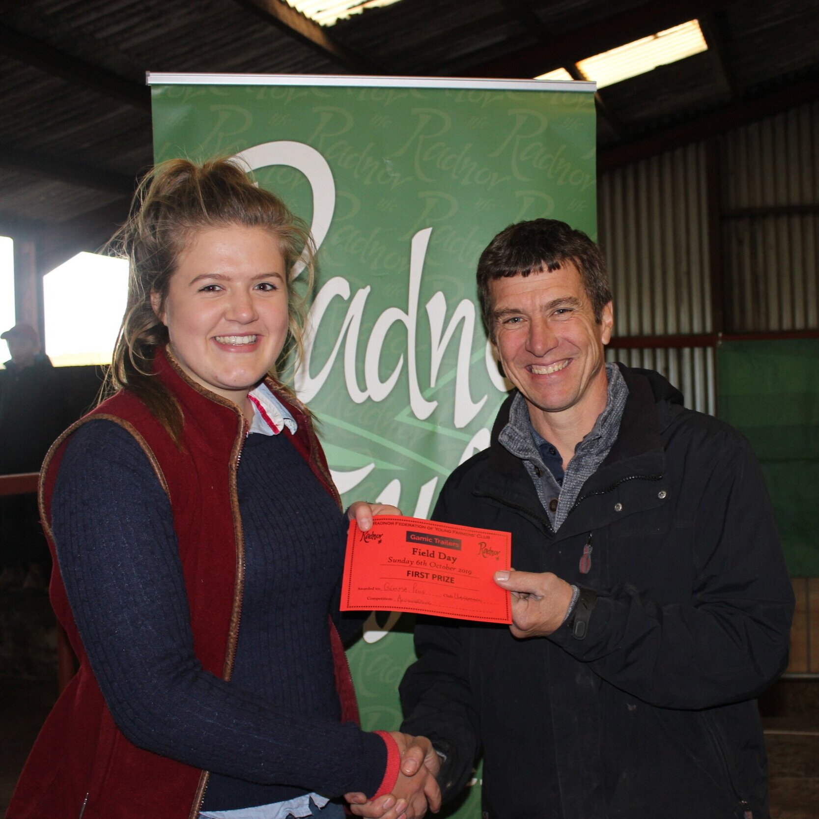 Gemma Price, Llanbadarn Fynydd YFC - 1st place in the Auctioneering competition with Mark Watson.