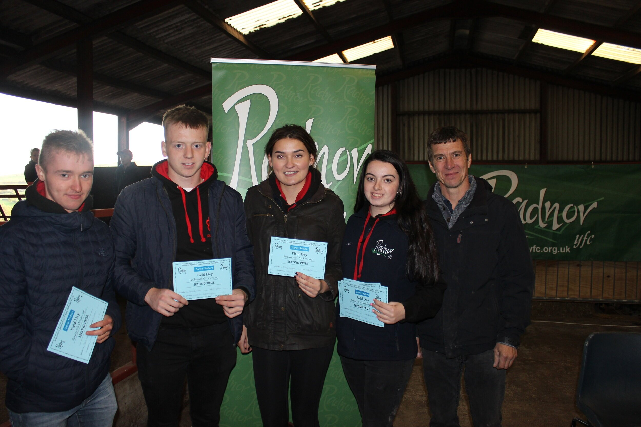 Jack Bright, Sam Beavan, Sally Gough & Jess Morgan, Knighton YFC - joint 2nd place in the Commercial Dance competition with Mark Watson