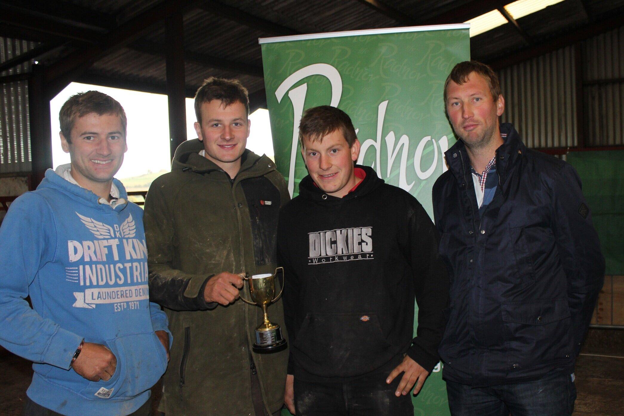 Gwilym Lewis, Bryn Lewis & Oliver Jones, Llanbadarn Fynydd YFC - Llanbadarn Fynydd YFC Challenge Cup for the Senior Fencing with Sponsor, Dan Davies, Gamic Trailers