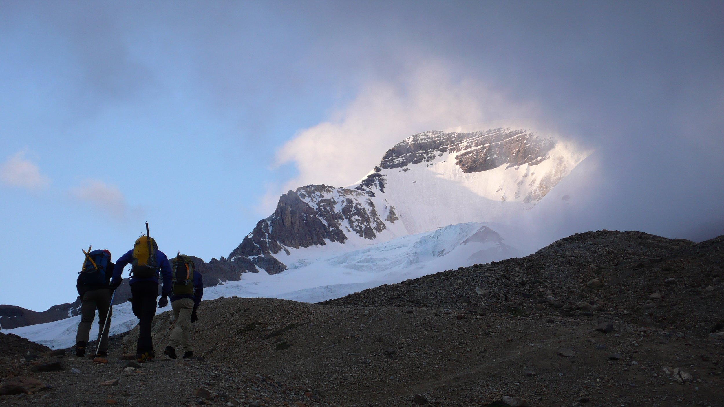 An early morning approach to Mt. Athabasca
