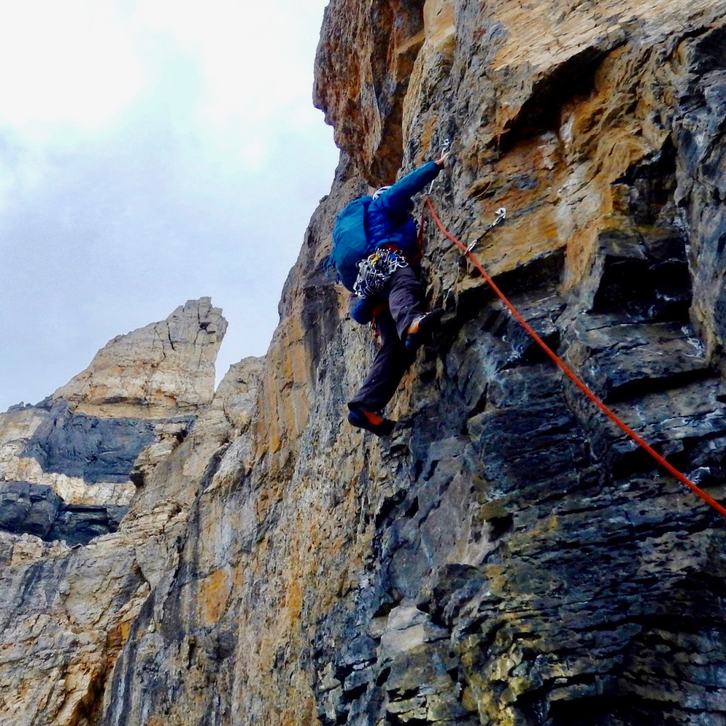 Mark leading the Aphrodite pitch on Apollo, Mt. Hector (5.9), during the first ascent. Photo: Marco Deleselle