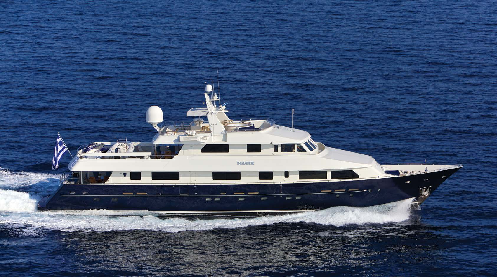 MAGIX   GUESTS: 10 | CABINS: 5 | CREW: 7  LOA: 37.80m | SPEED: 14kn | PRICE: €79,000 p/w