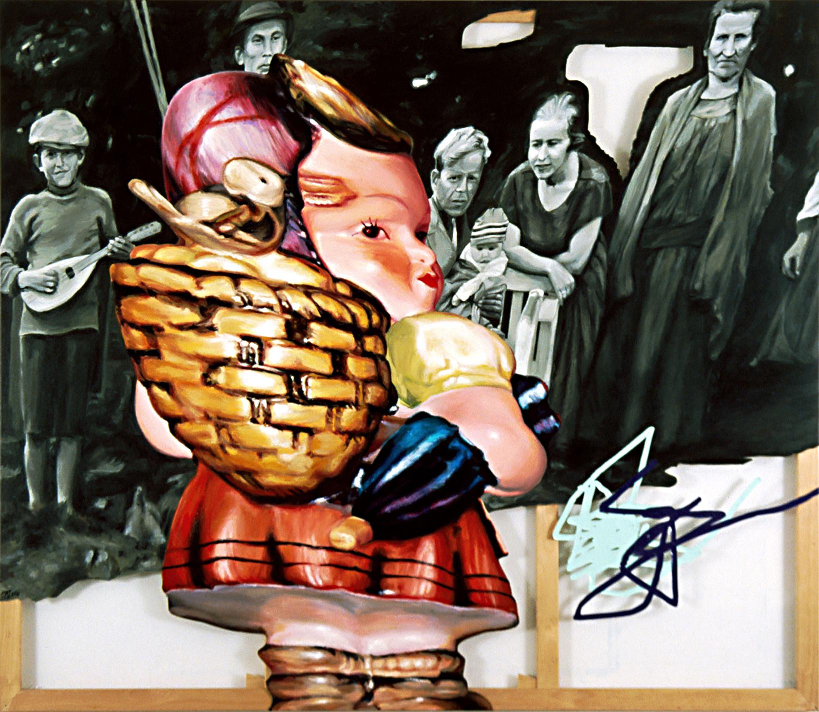 'Family Scene 3' 213 x 243cm, oil on canvas, plastic (Faulting Collection, Australia)
