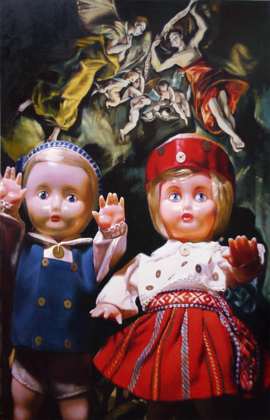 'Wanda & Wilhelm get up to mischief...' 213x137cm oil on linen