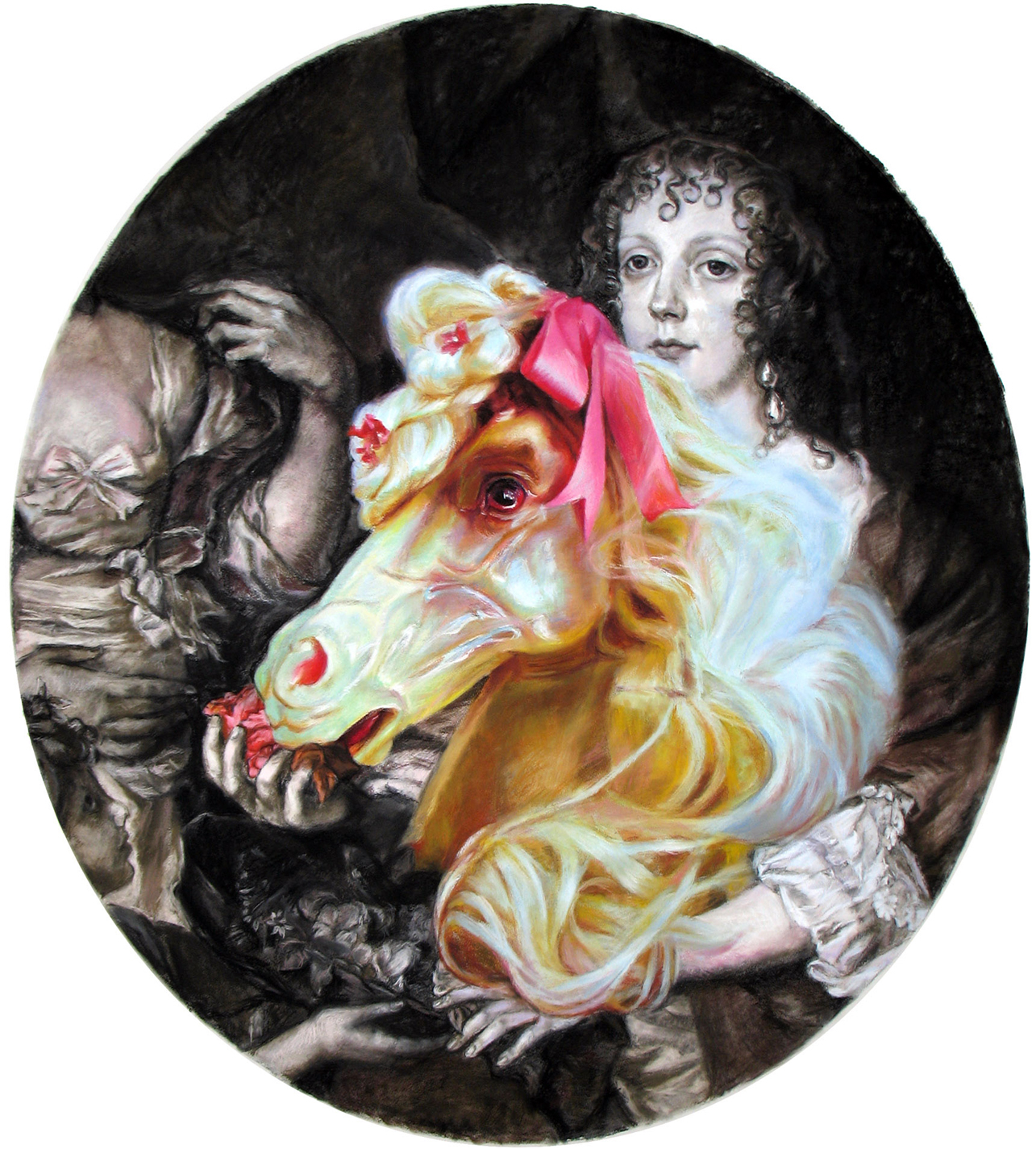 'The ladylike lady feeds her lap-horse beauty flowers' 150x135 cm, gouache, pastel and charcoal on paper, 2006
