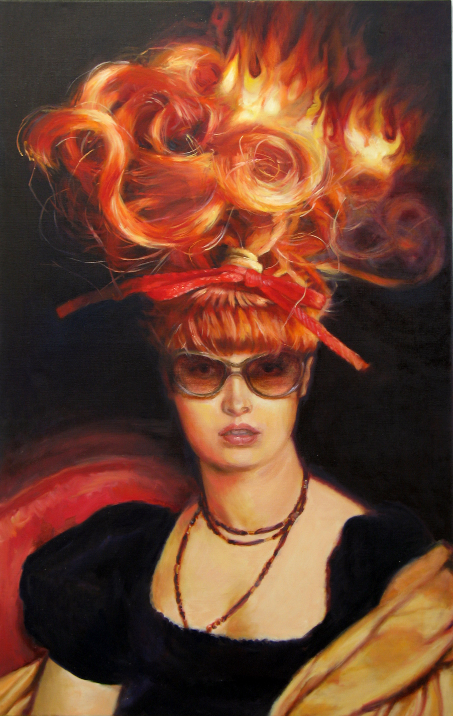 'Madame Topknot plans her day' 152x94cm oil on linen