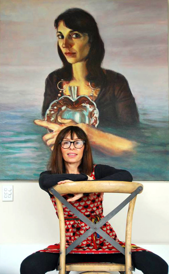 Naomi Lisner in front of 'Island' by Chris Aerfeldt, 140 x 120 cm, oil on linen, private collection, Melbourne