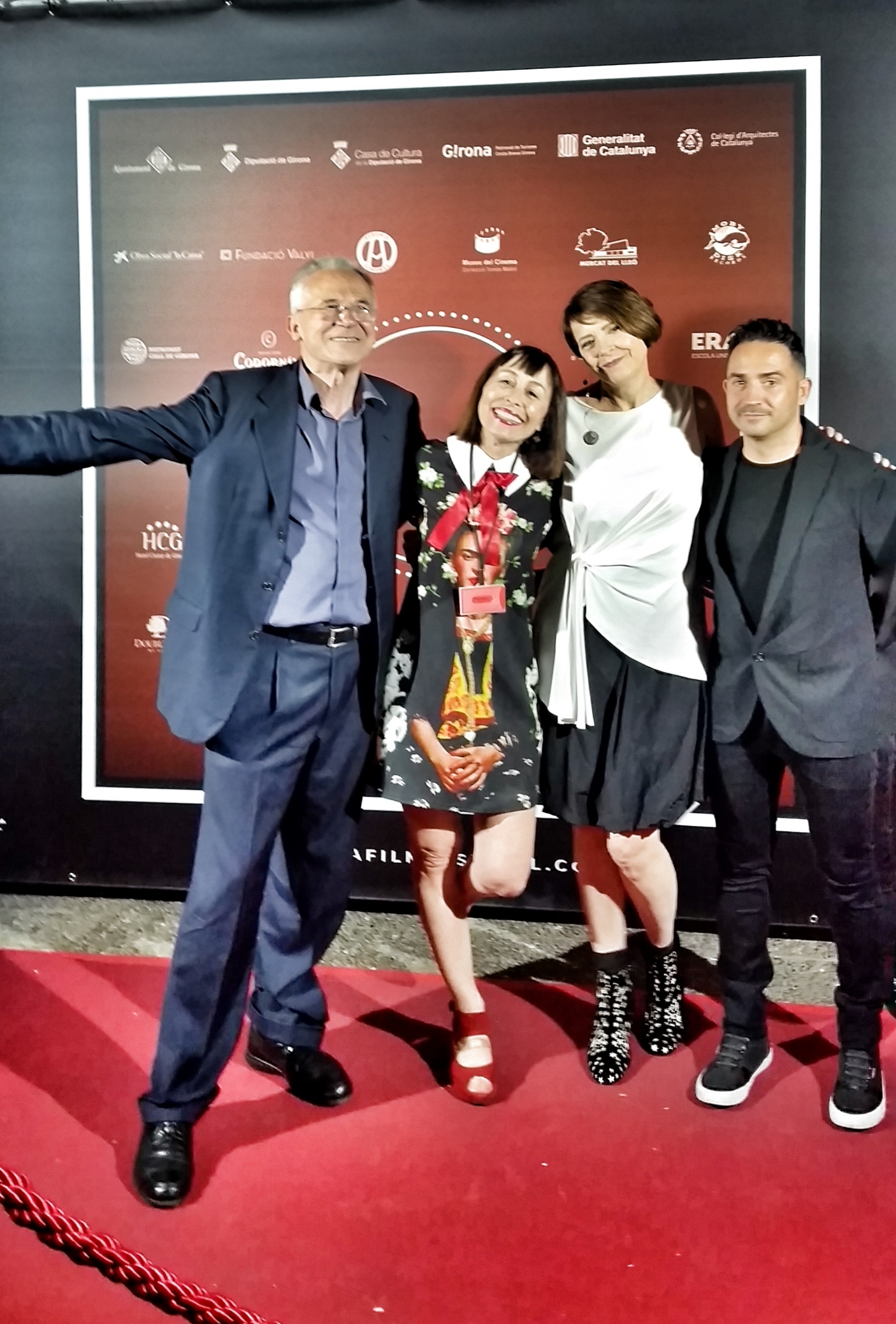 On the red carpet at the Gerona Film Festival with Naomi Lisner and Lluis, the festival director (at left)