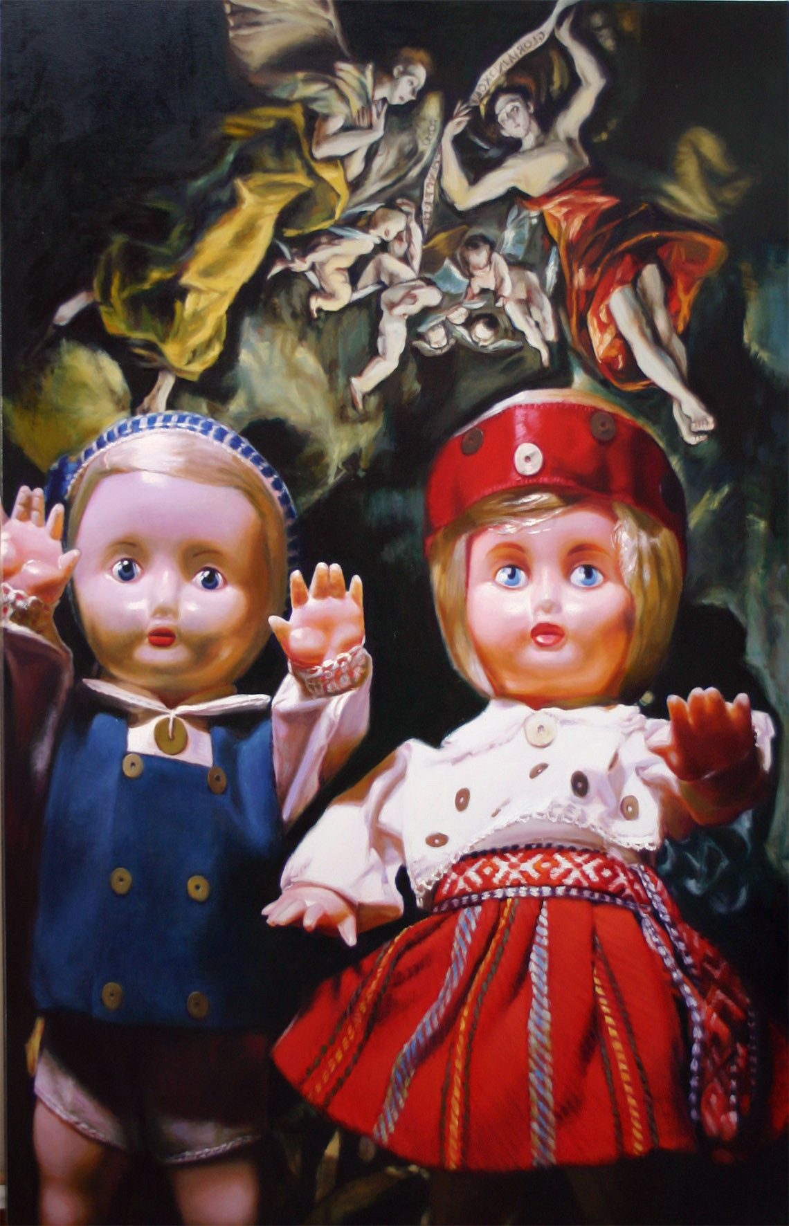Aerfeldt Wanda and Wilhelm get up to childish tricks in the dark 213 x 137 cm, oil on linen, 2004.jpg